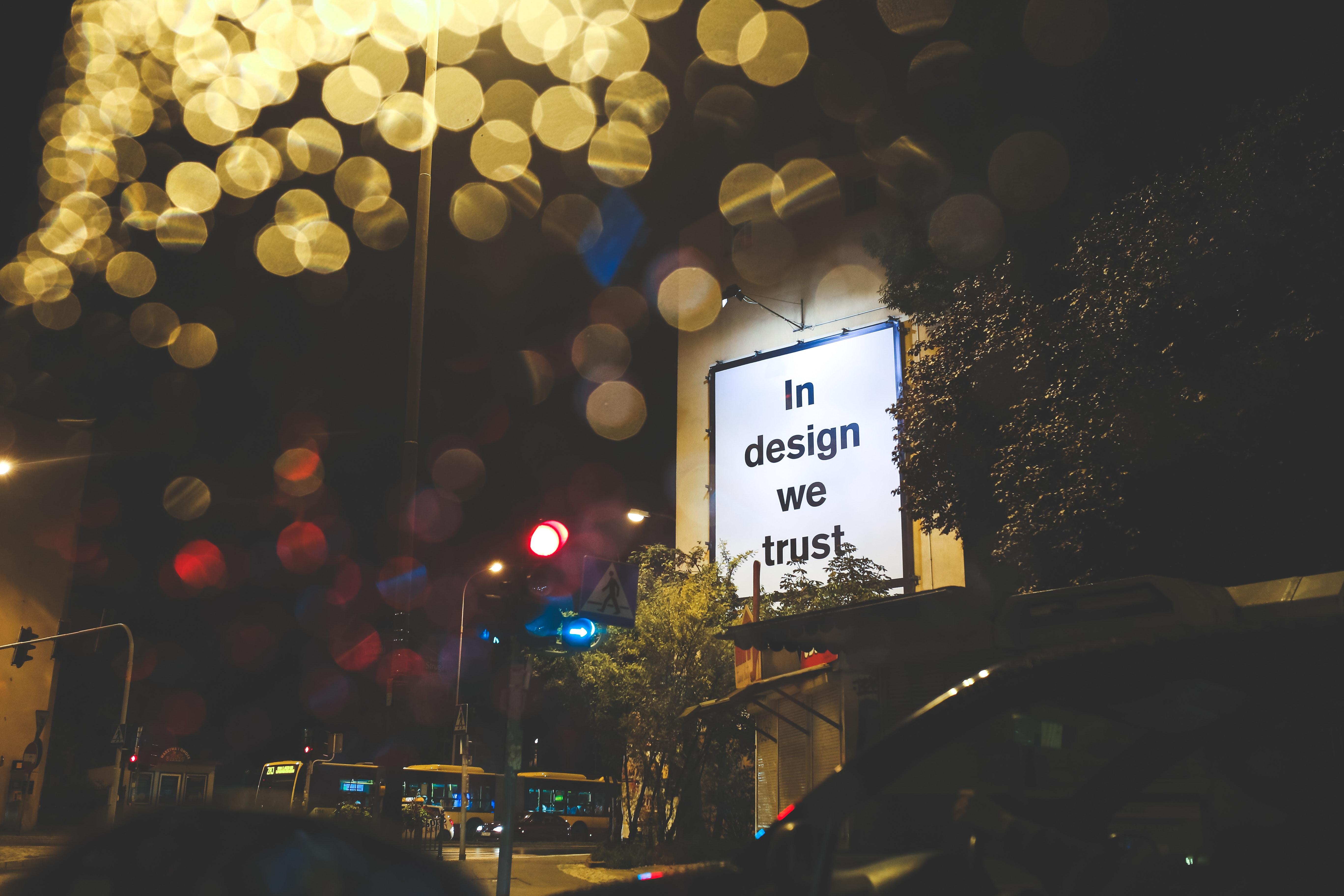 In Design We Trust / Billboard, Ad, Lights, Łódź, Winter, HQ Photo
