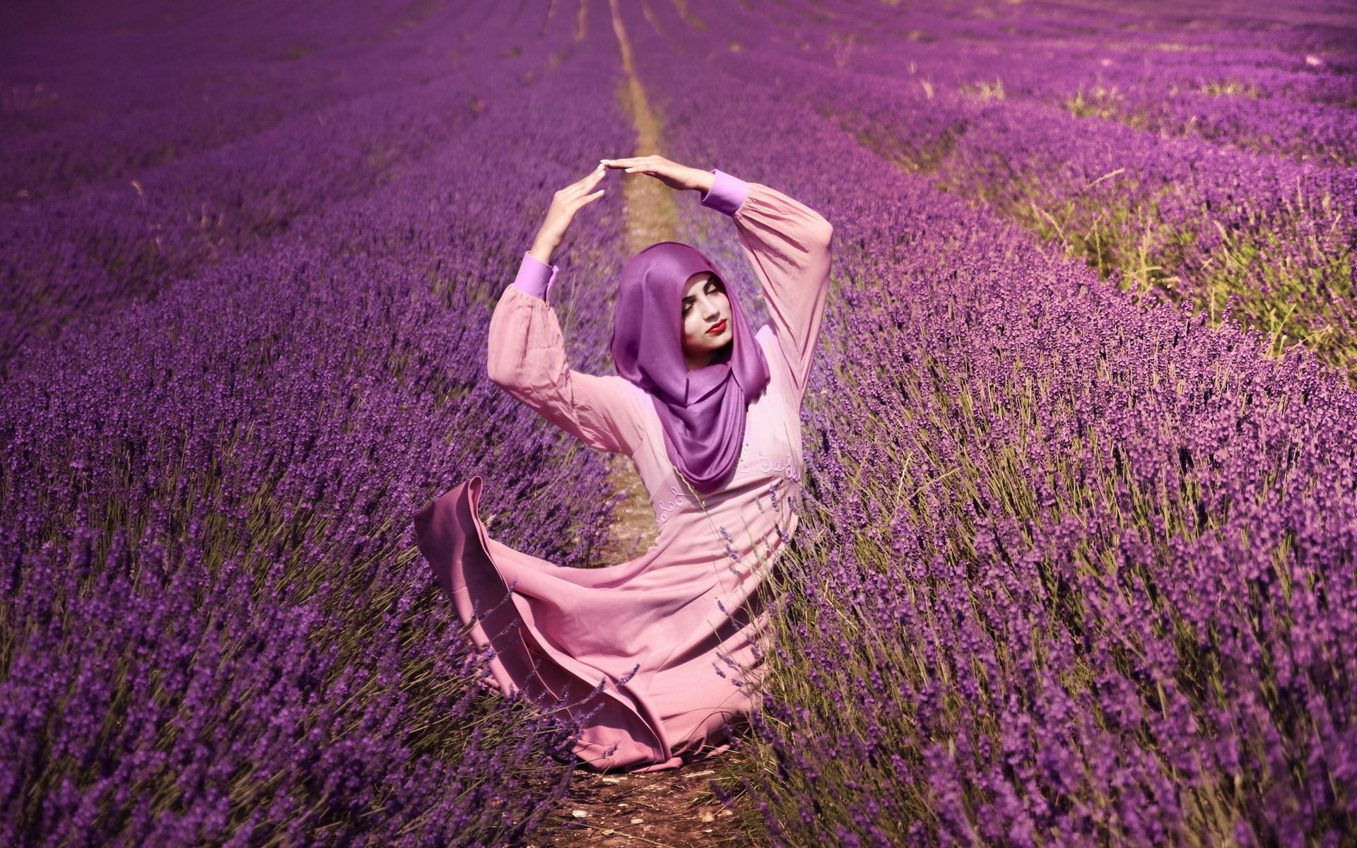 Girl Field Flowers Lavender Mood #6948806
