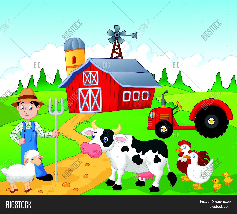 Farmer Cartoon Working Farm Vector & Photo | Bigstock