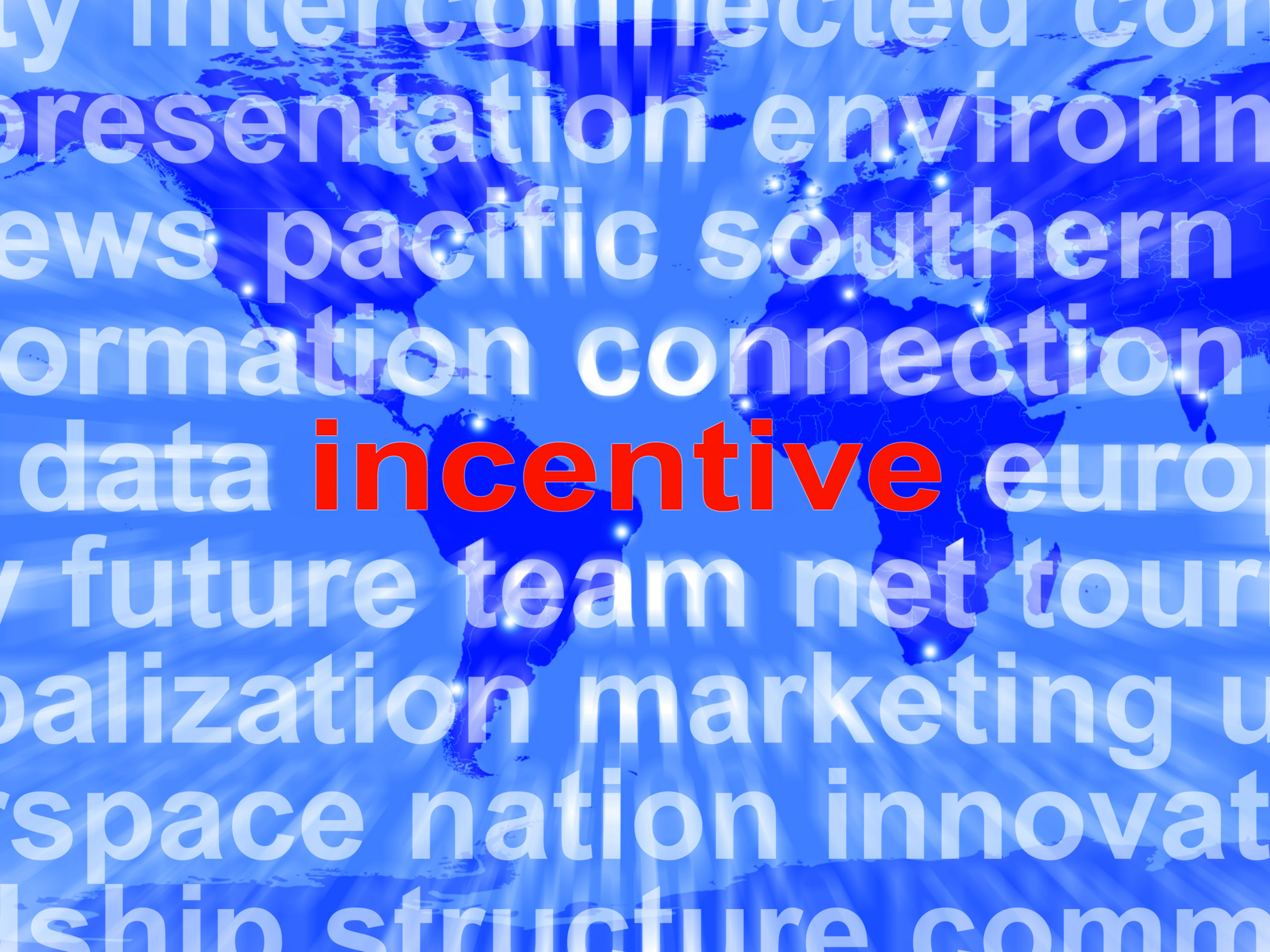 Incentive word cloud shows bonus inducement reward photo