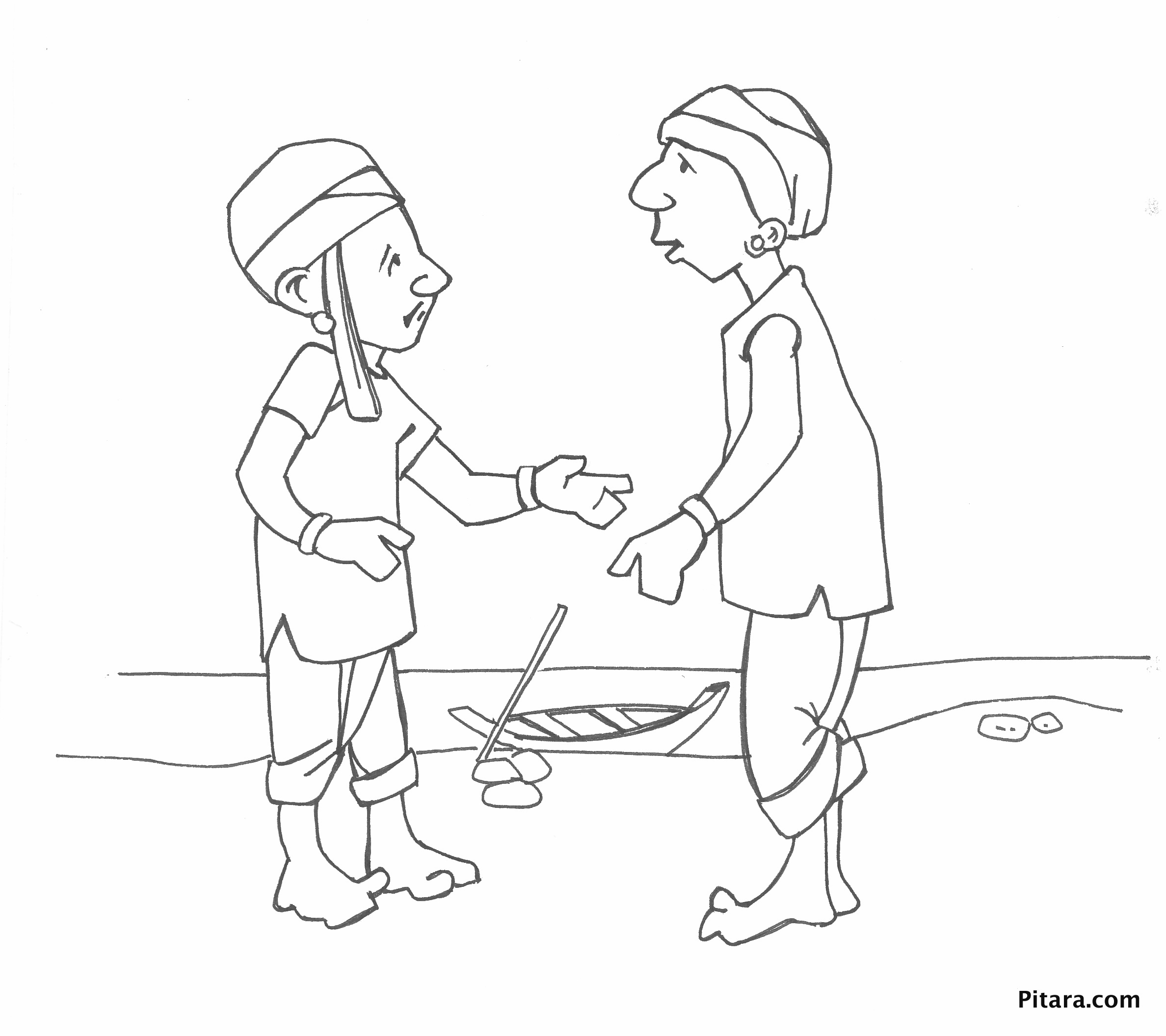 Sketch Of A Village Man Indian Village People Coloring Pages ...