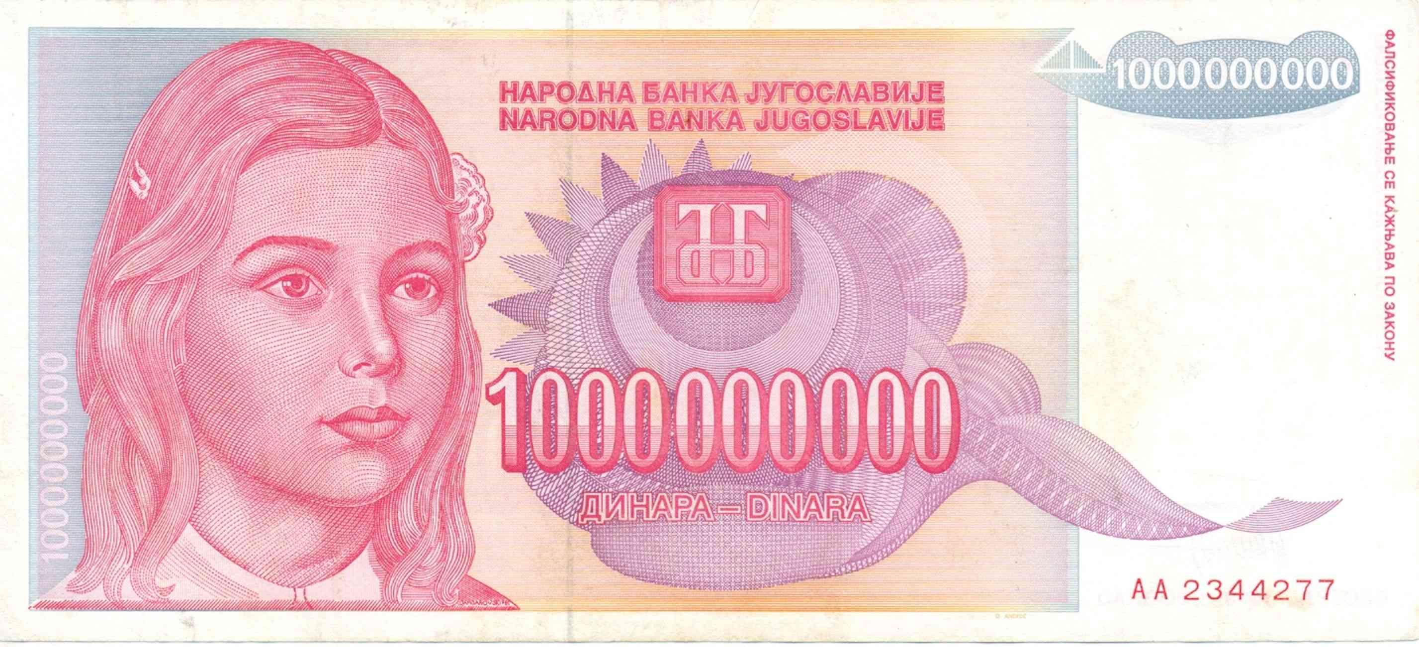 Banknote Index - Yugoslavia 1000000000 Dinar: P126