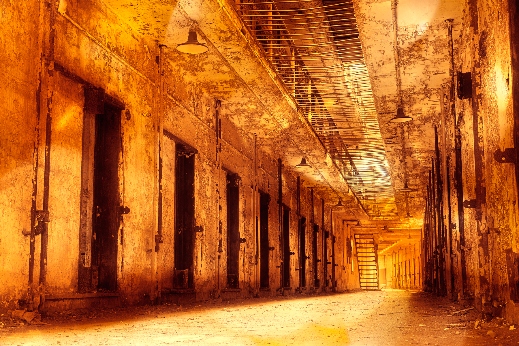 Infernal Prison Corridor, Abandoned, Pipes, Rusty, Rustic, HQ Photo