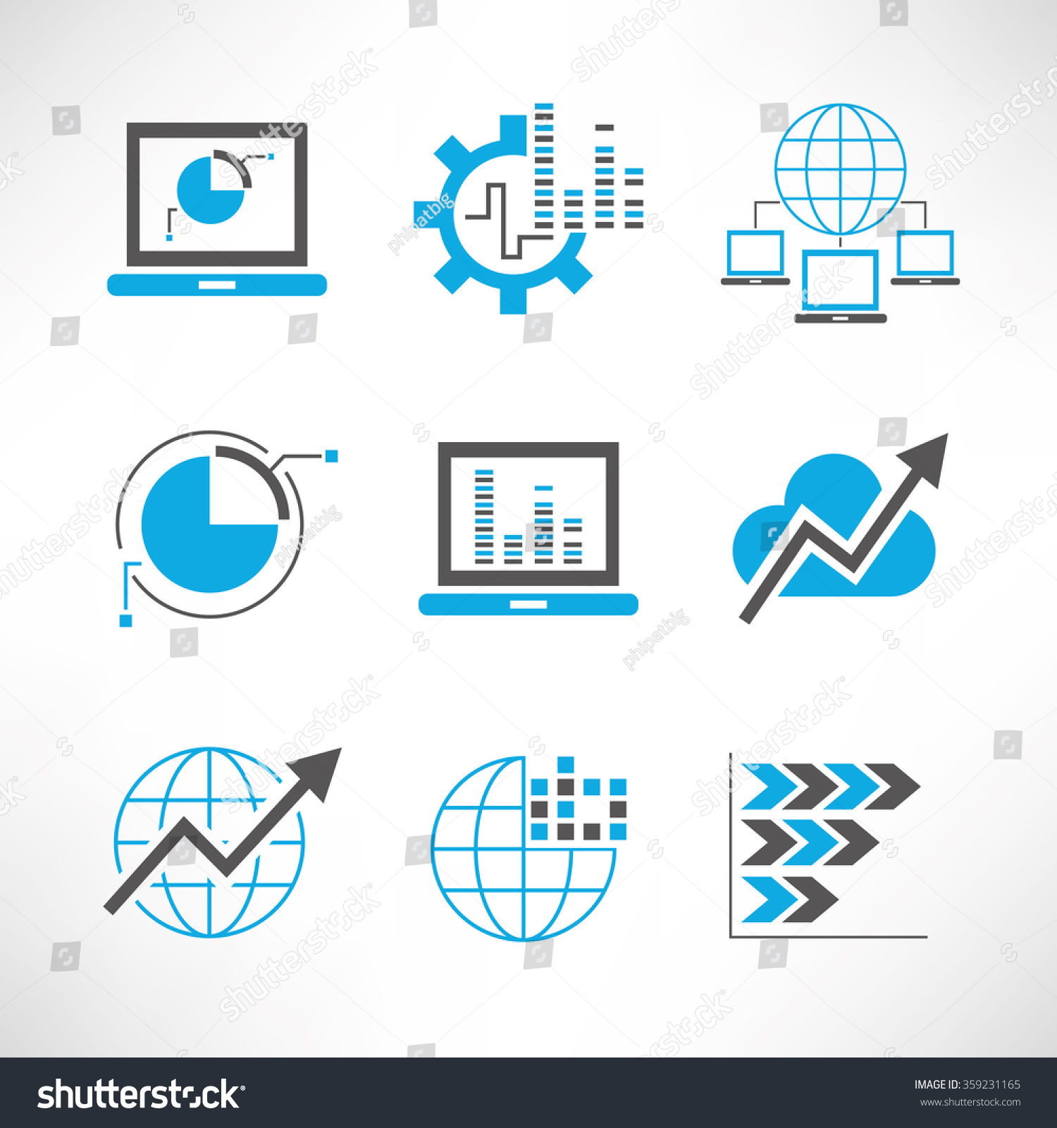 Network Analytics Icons Information Technology Concept Stock Vector ...