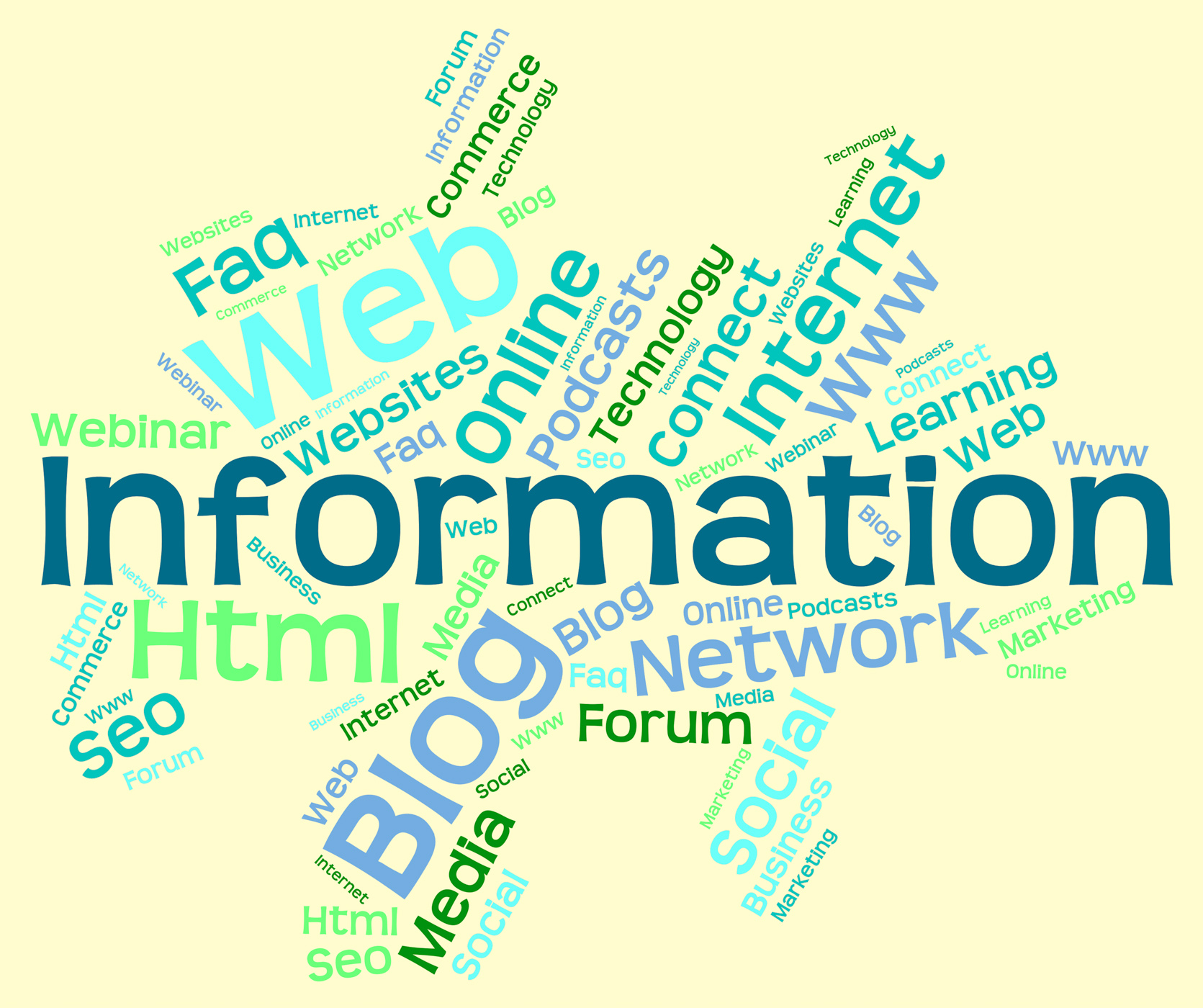 Information word indicates knowledge help and wordcloud photo