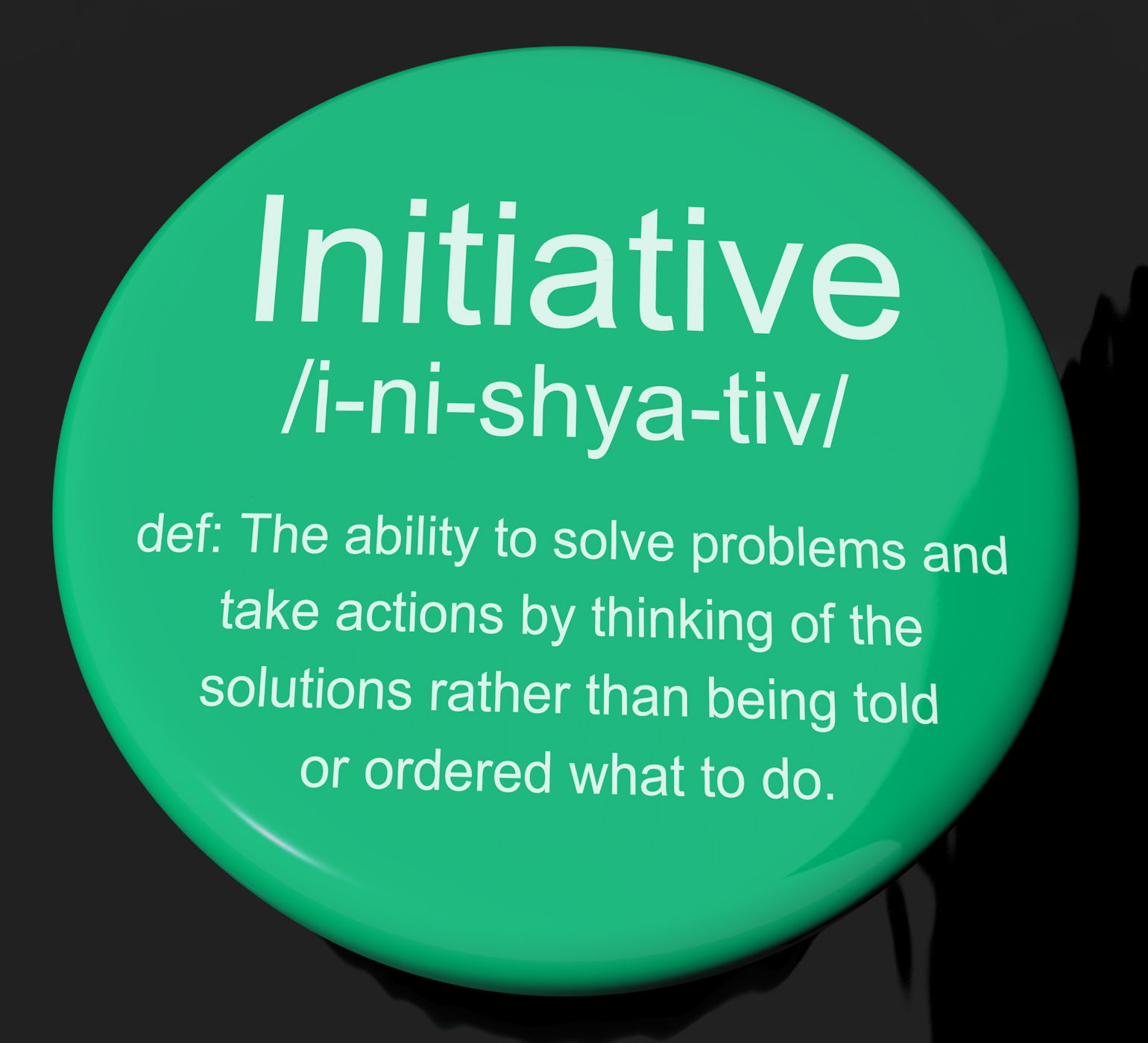 Initiative definition button showing leadership resourcefulness and ac photo