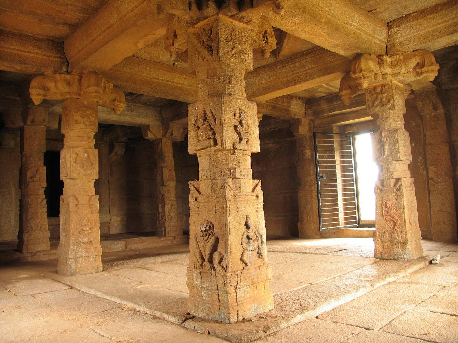 Hampi temple inside view - temples decoration Hampi
