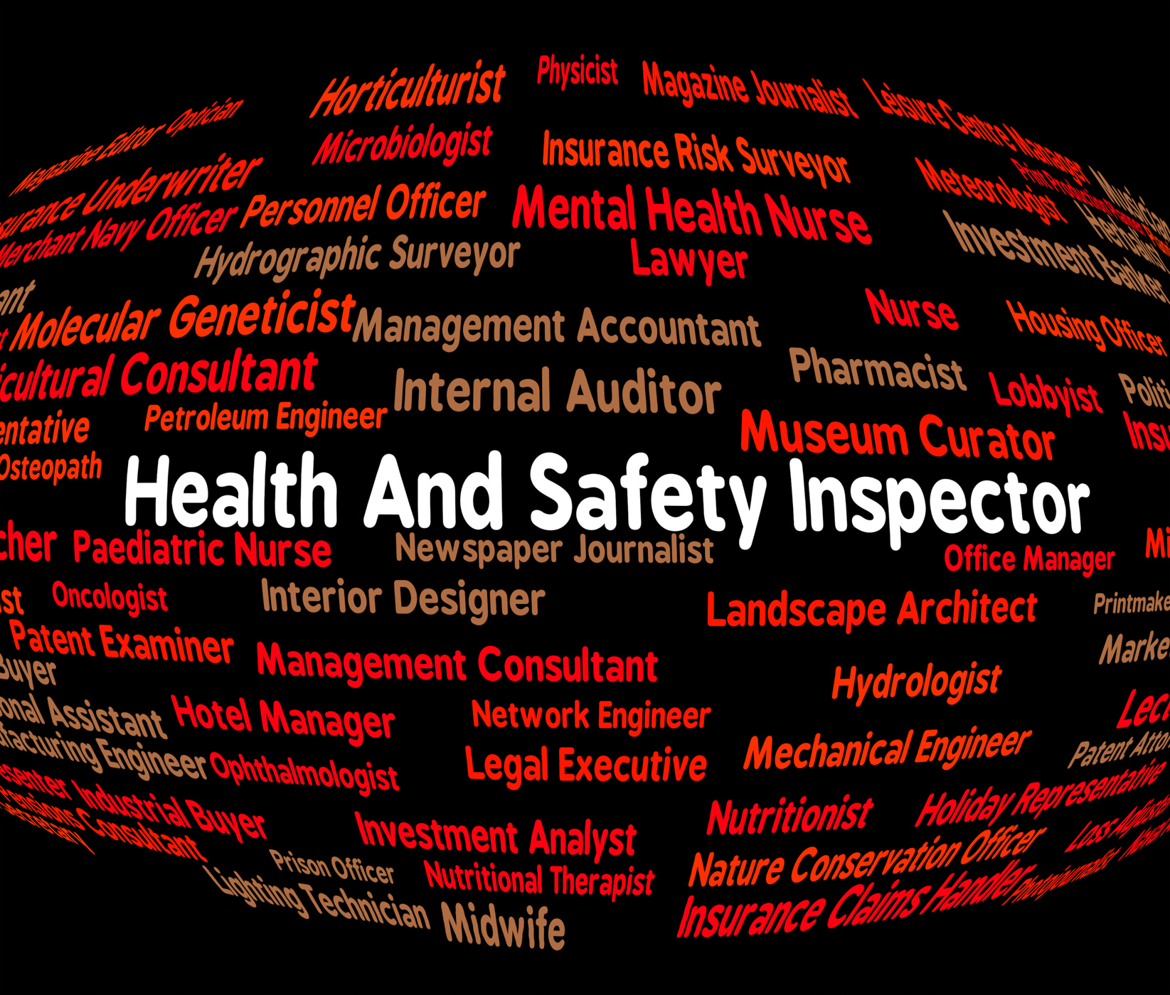 Inspector word shows health check and monitor photo
