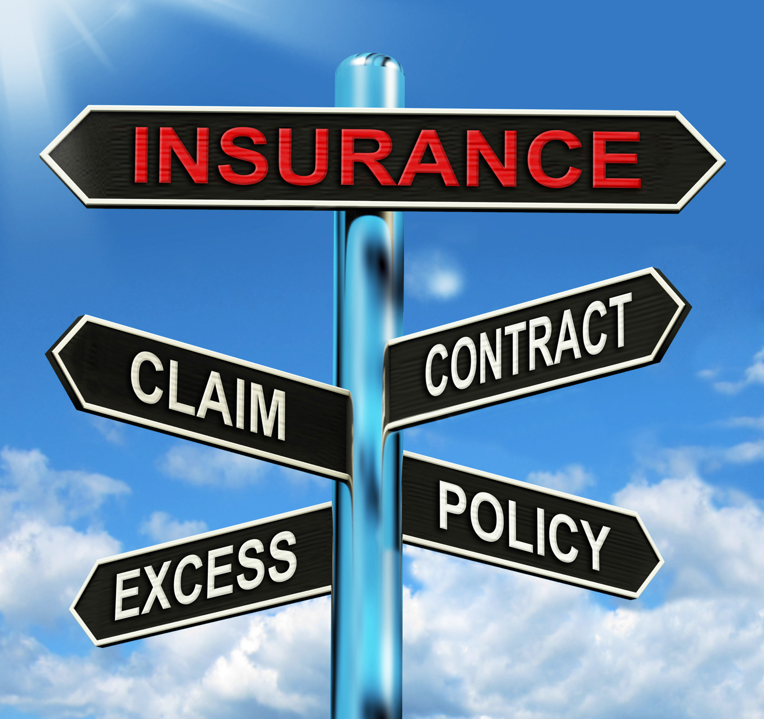 Insurance signpost mean claim excess contract and policy photo