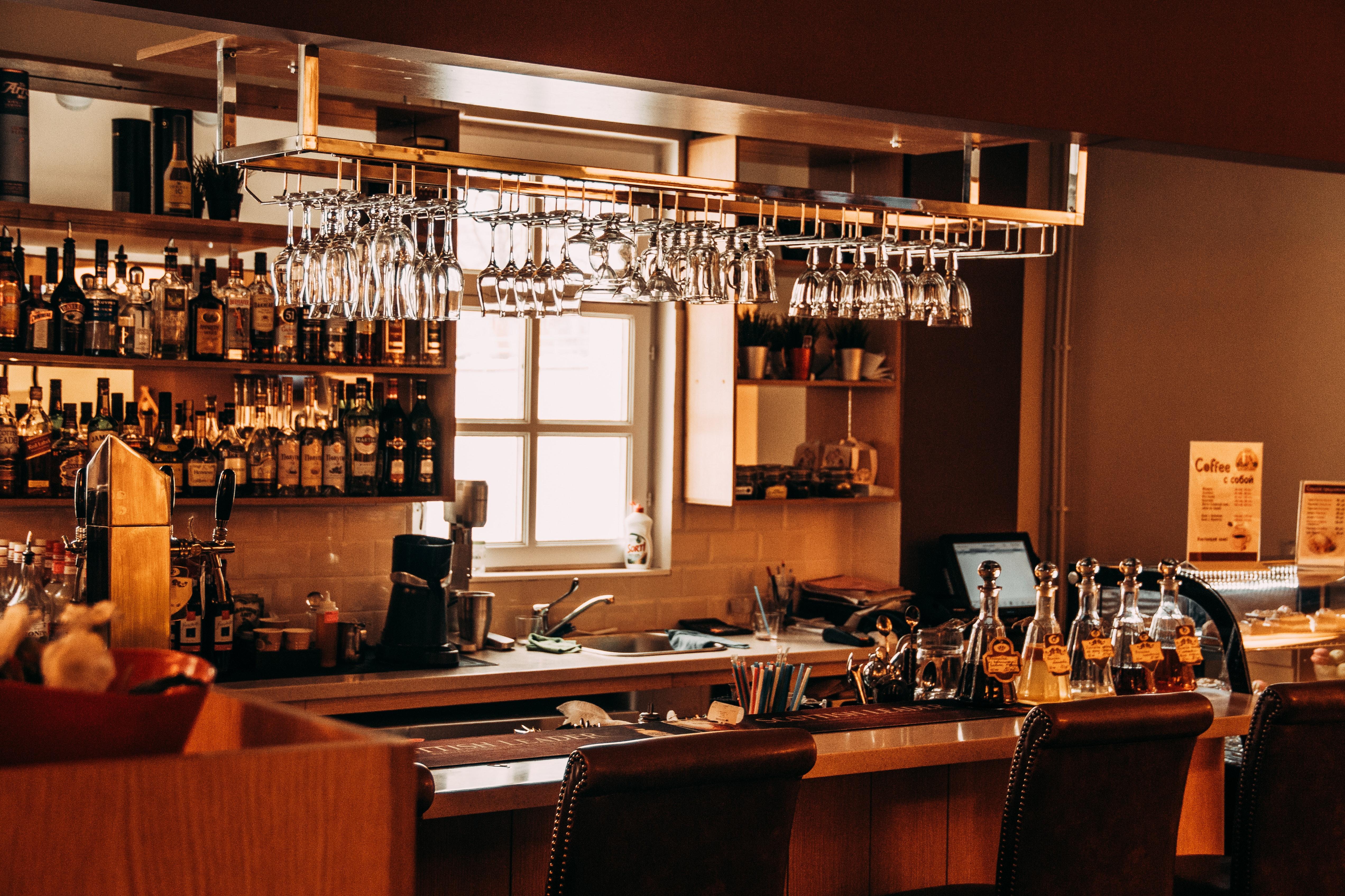 Interior of Modern Building, Kitchen, Wood, Wineglass, Wine, HQ Photo