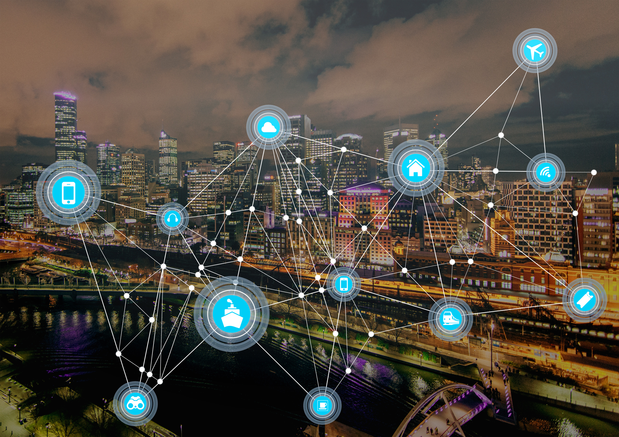 Internet of things - communication mesh over cityscape photo