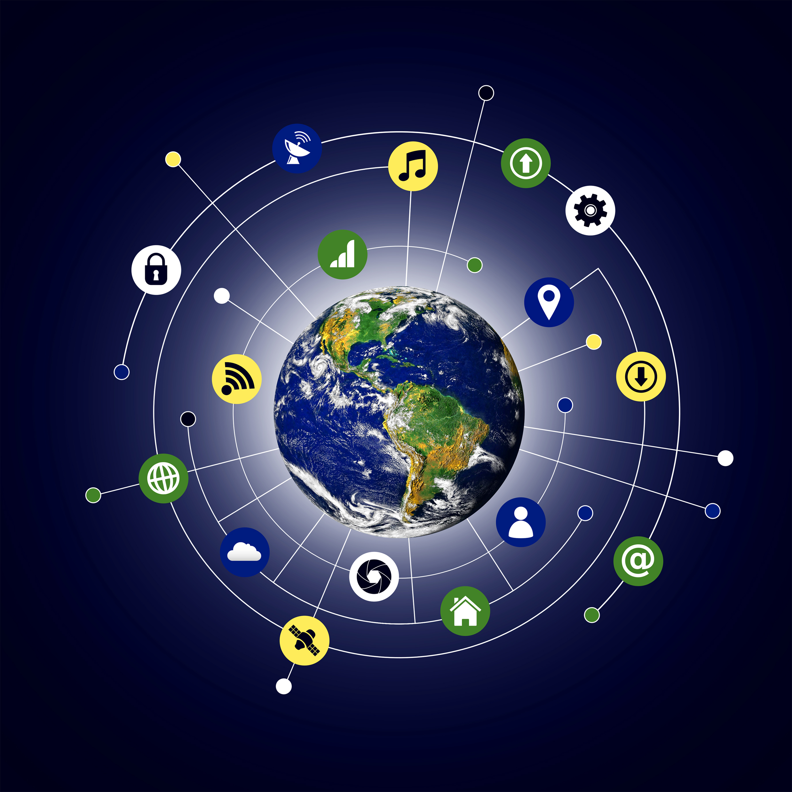 Internet of things concept - globalized interconnected world photo