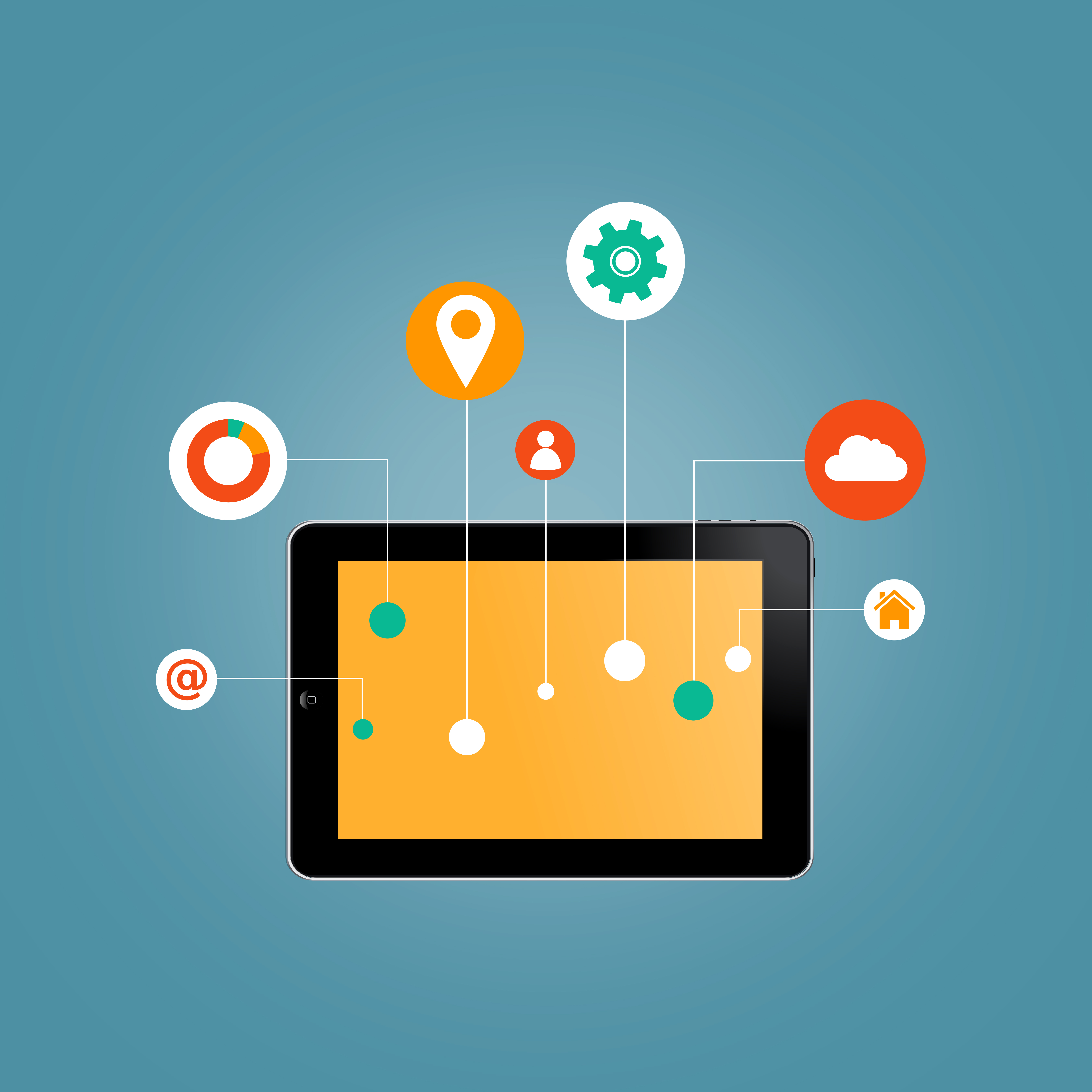 Internet of things concept - tablet with information technology icons photo