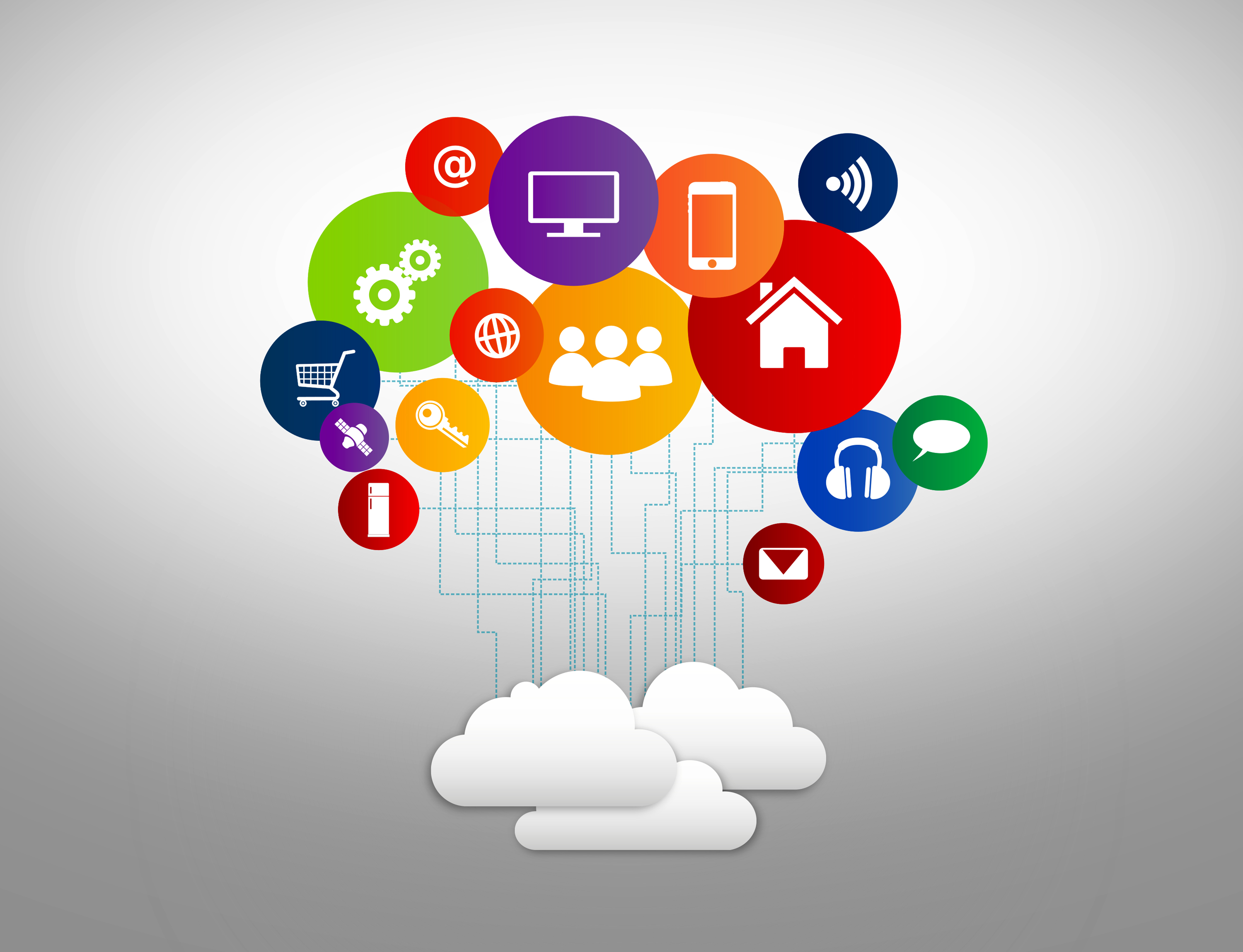 Internet of things concept with digital cloud and devices photo