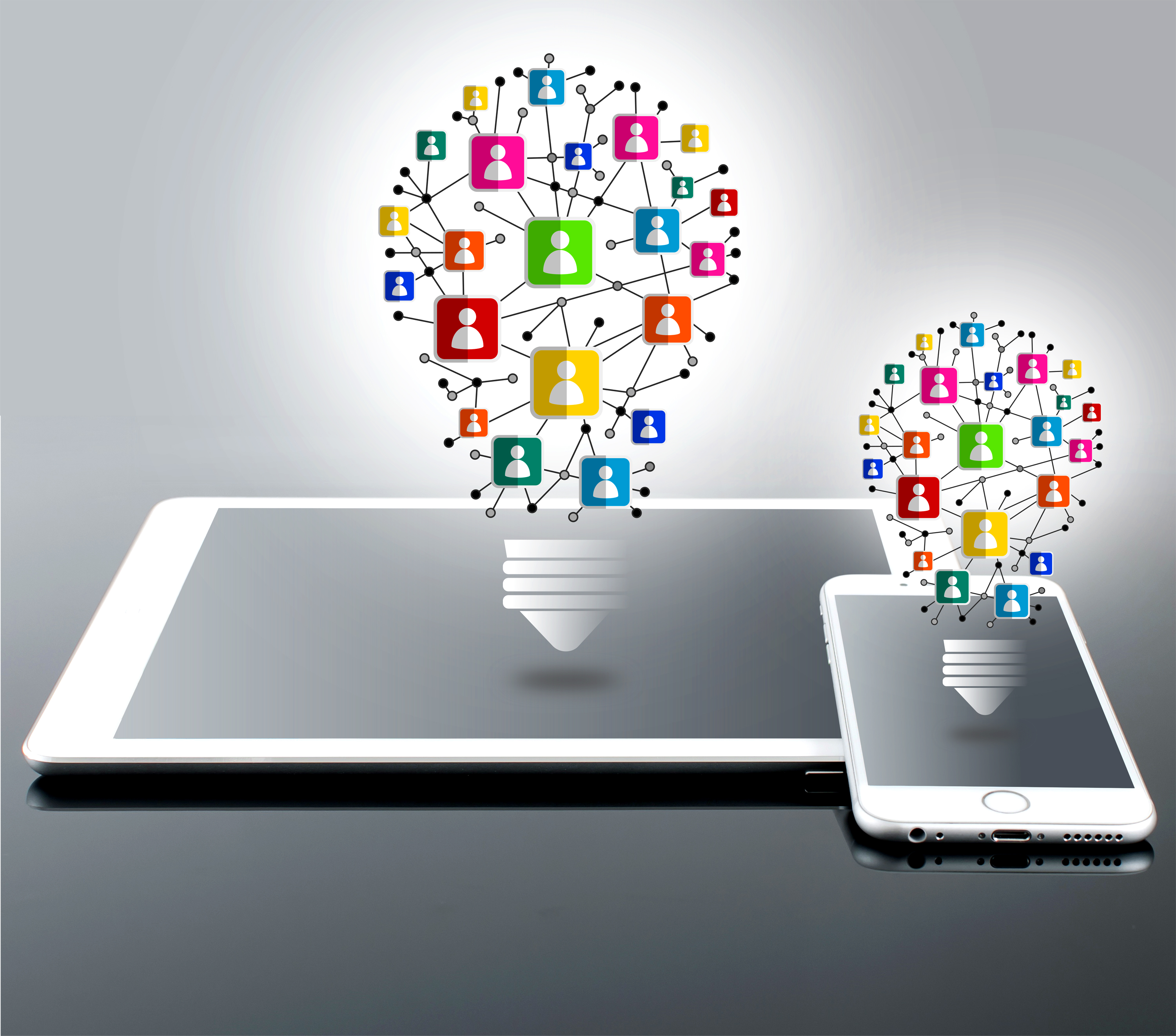 Interpersonal Communication Idea with Lightbulbs and Devices, , Mobile, Organizer, Of, HQ Photo