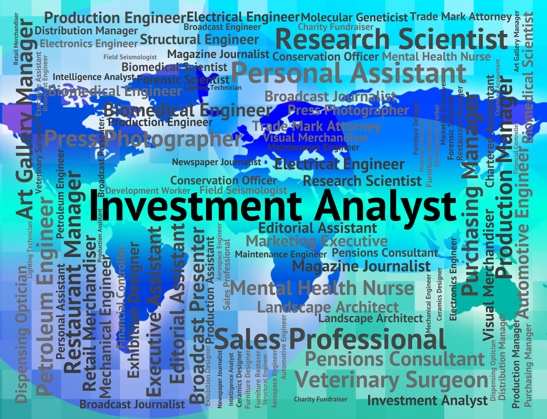 Investment analyst represents career invested and occupation photo