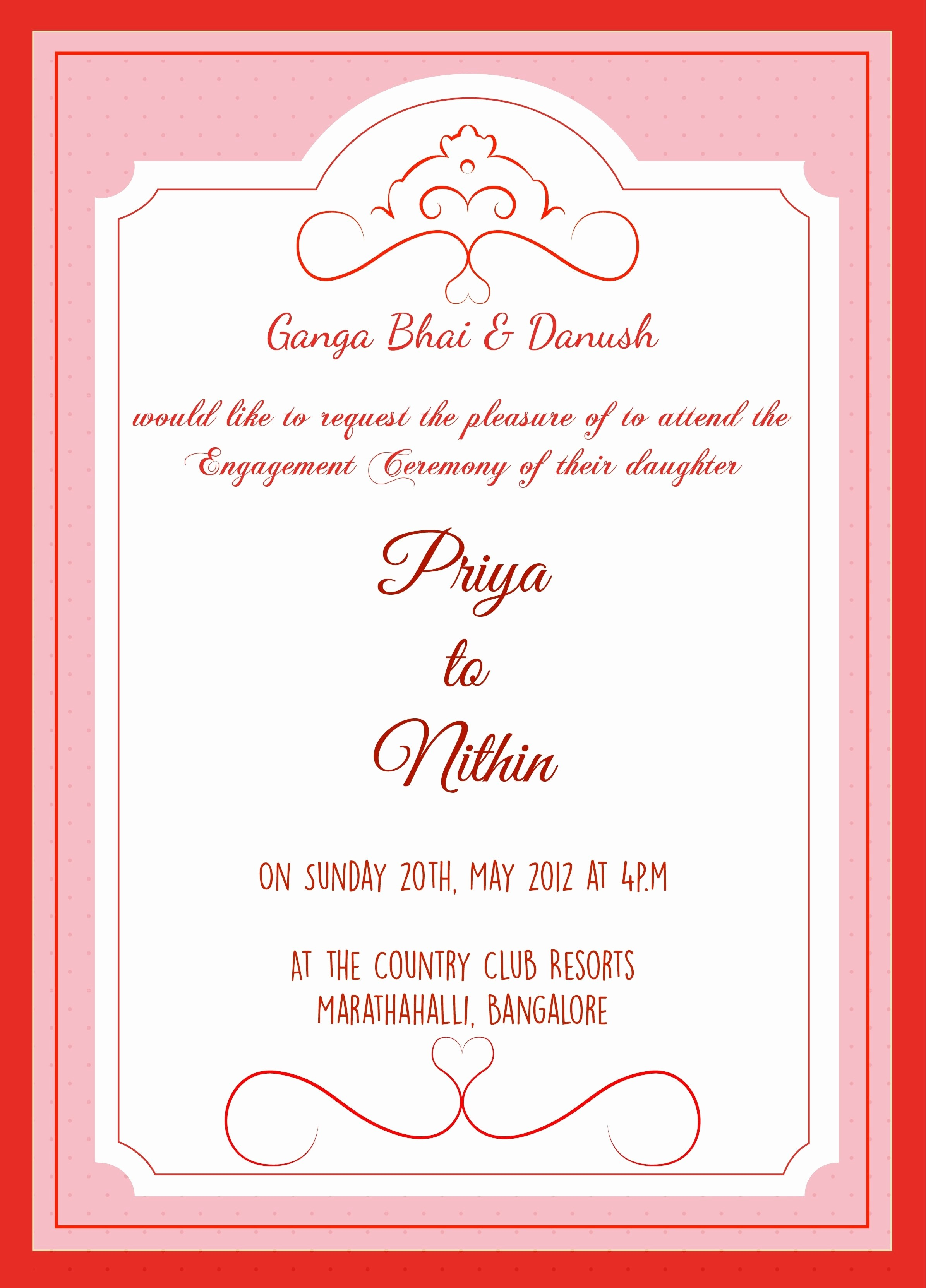 Inspirationalnew Invitation Card Format For Engagement New 1st ...