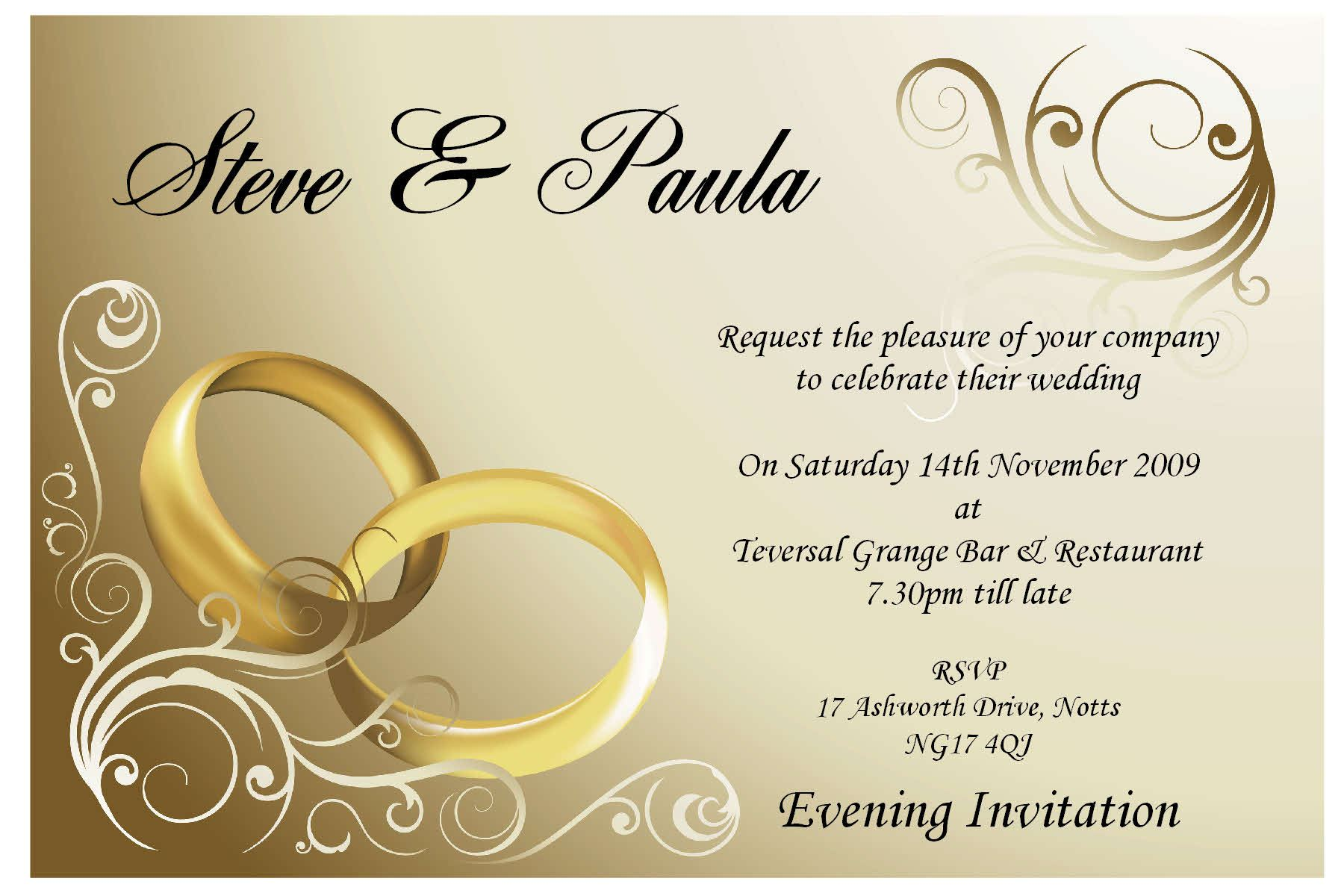 Sample Wedding Invitation Card : Samples Wedding Invitation Cards ...