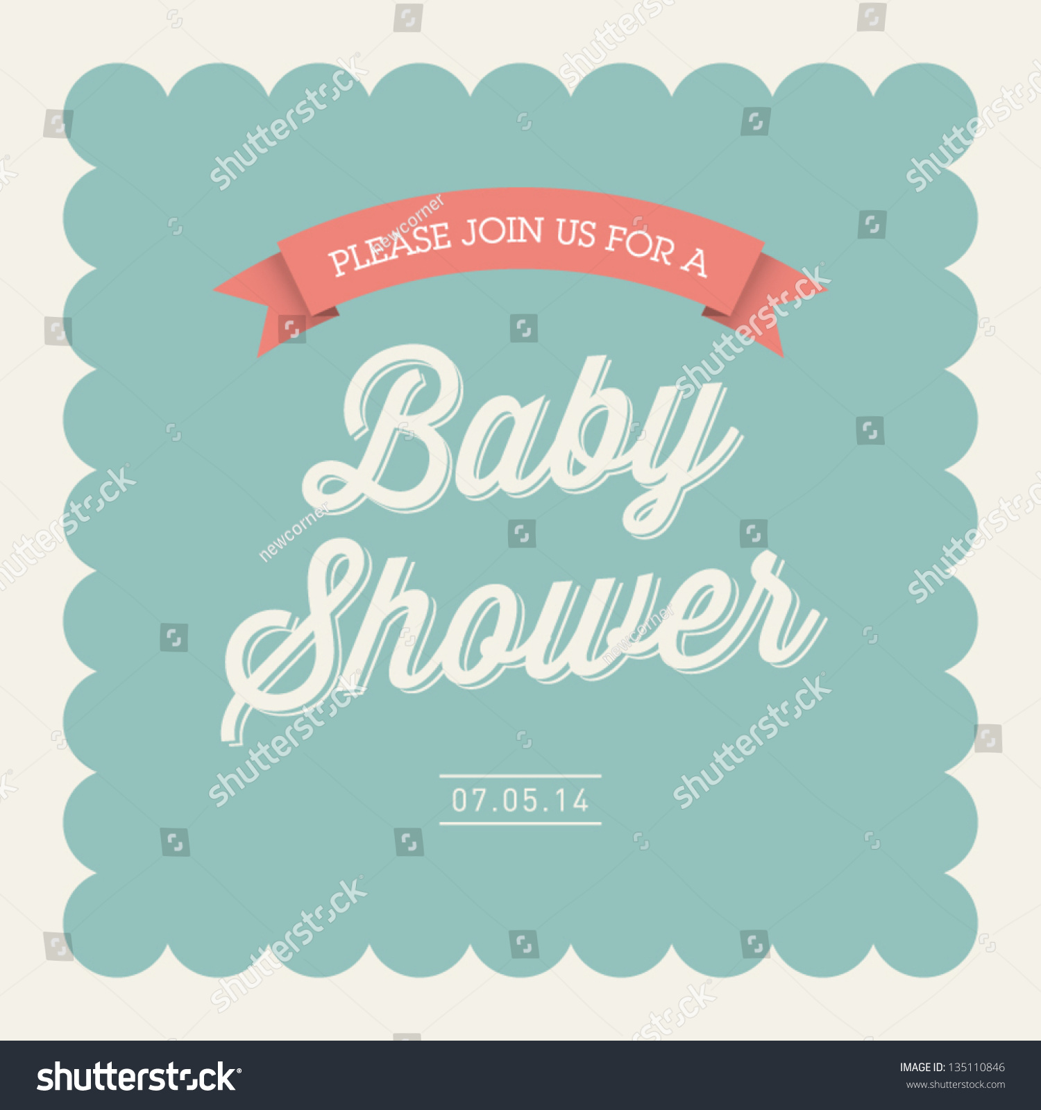 Baby Shower Invitation Card Editable Type Stock Vector 135110846 ...