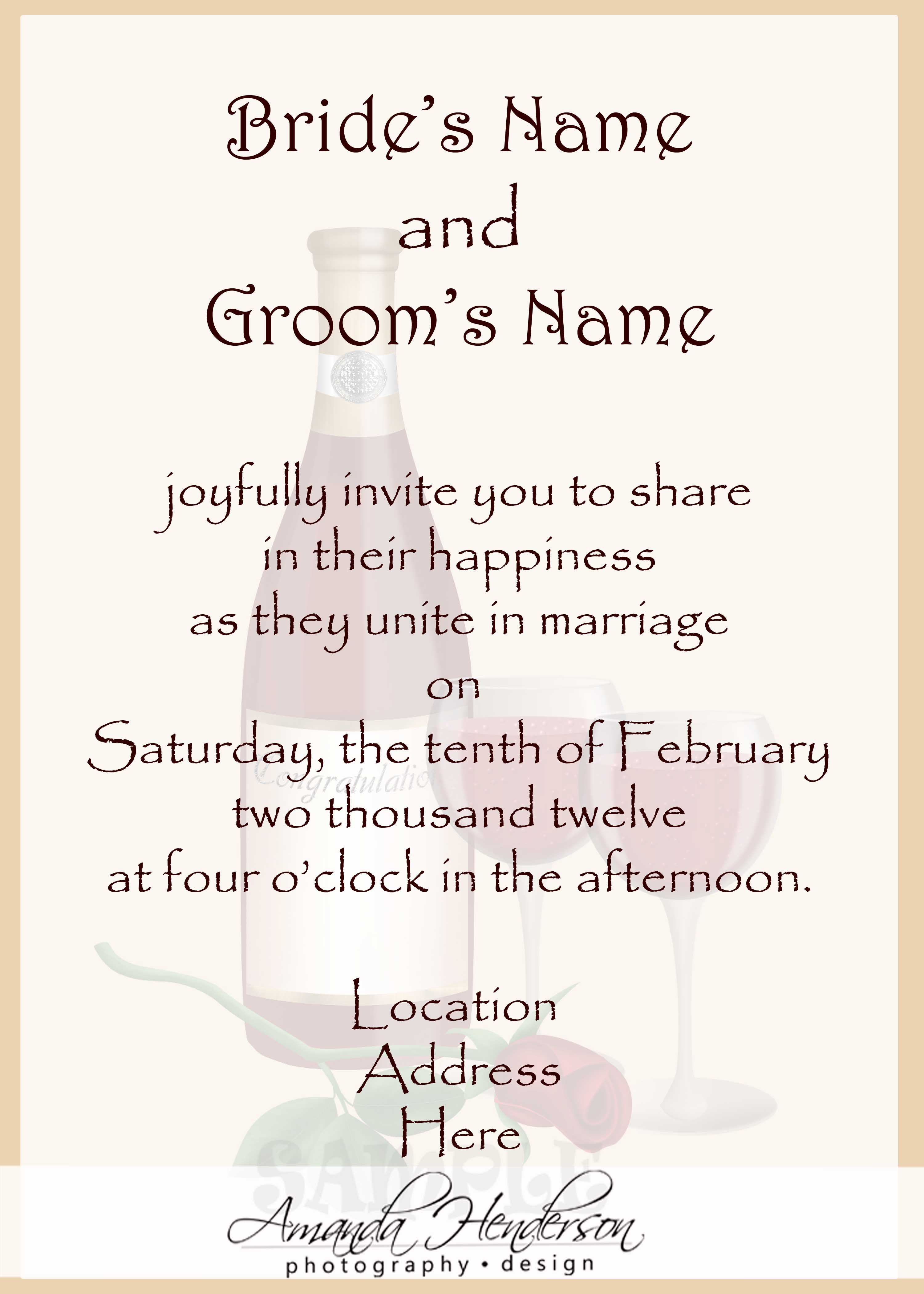 Sample Wedding Invitation Card : Sample Wedding Invitation Card ...
