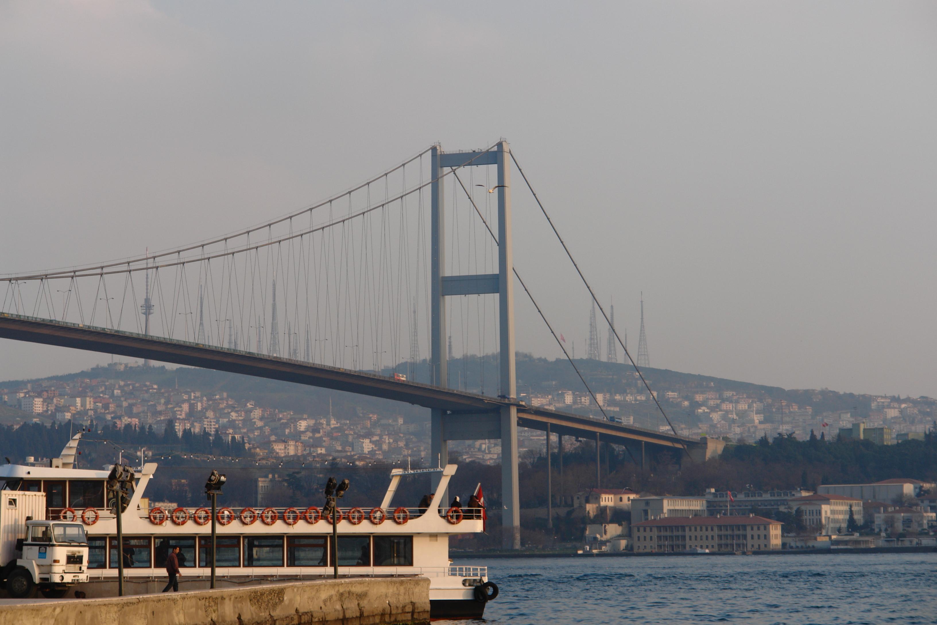 Istanbul Bosphorus Bridge, Boat, Bosphorus, Bridge, Cityscape, HQ Photo