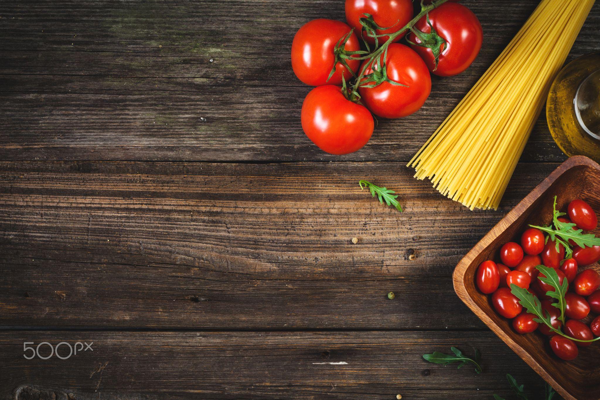 Italian cuisine food background - Italian cooking ingredients. Dry ...