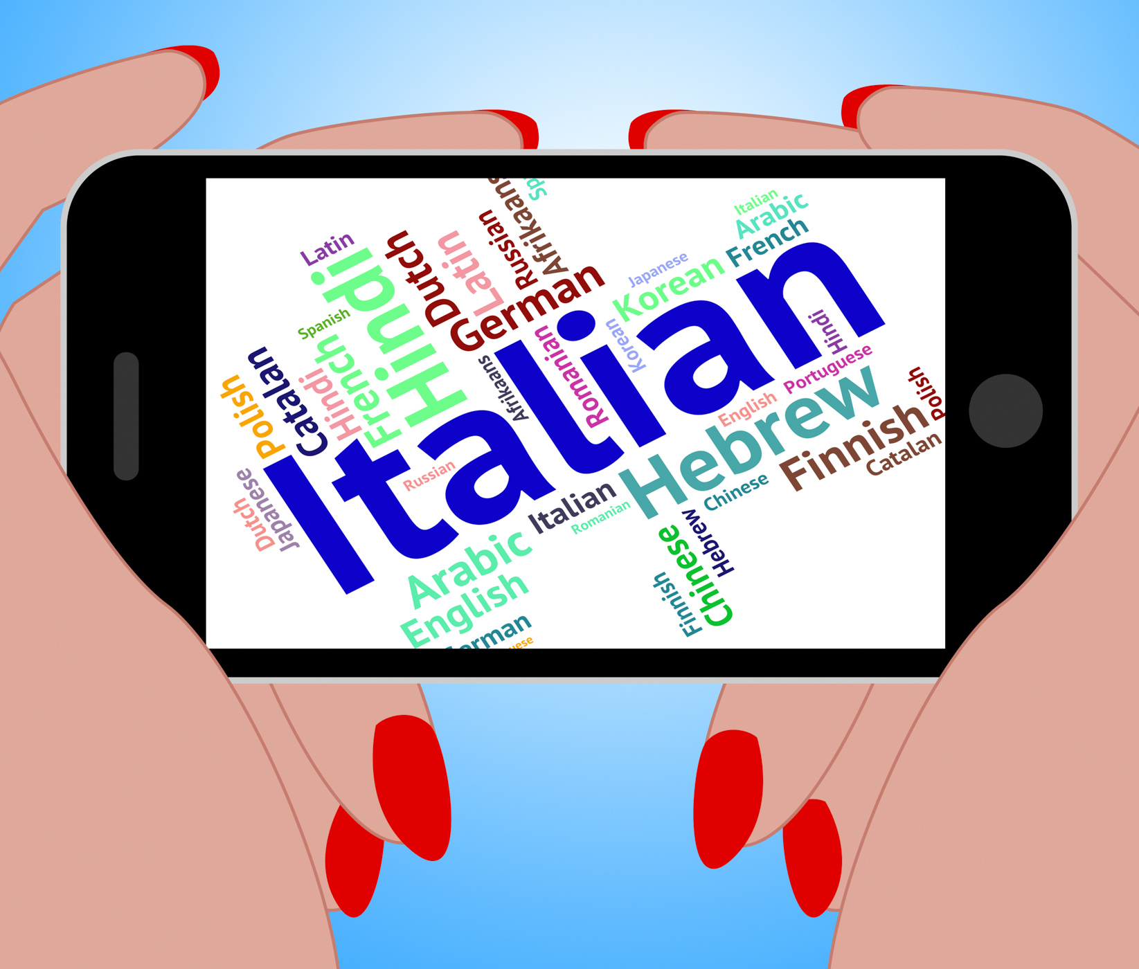 Italian language indicates speech text and foreign photo