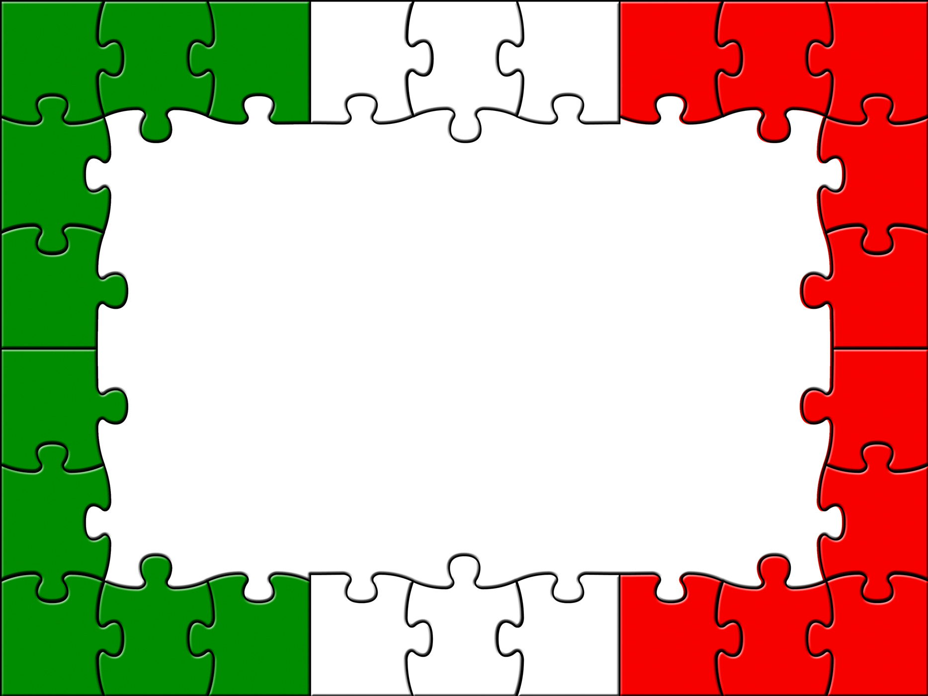 Italy jigsaw indicates empty space and copyspace photo