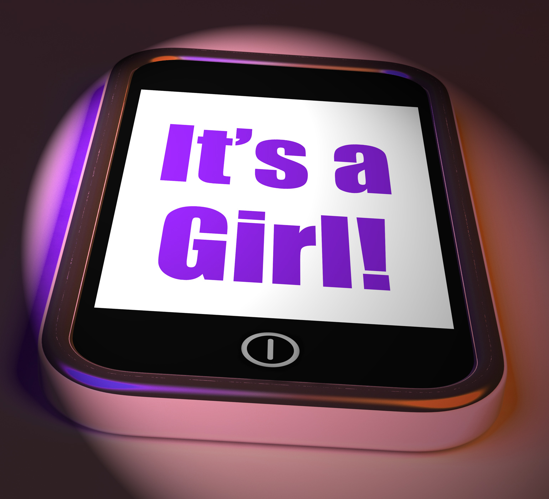 Its a girl on phone displays newborn female baby photo