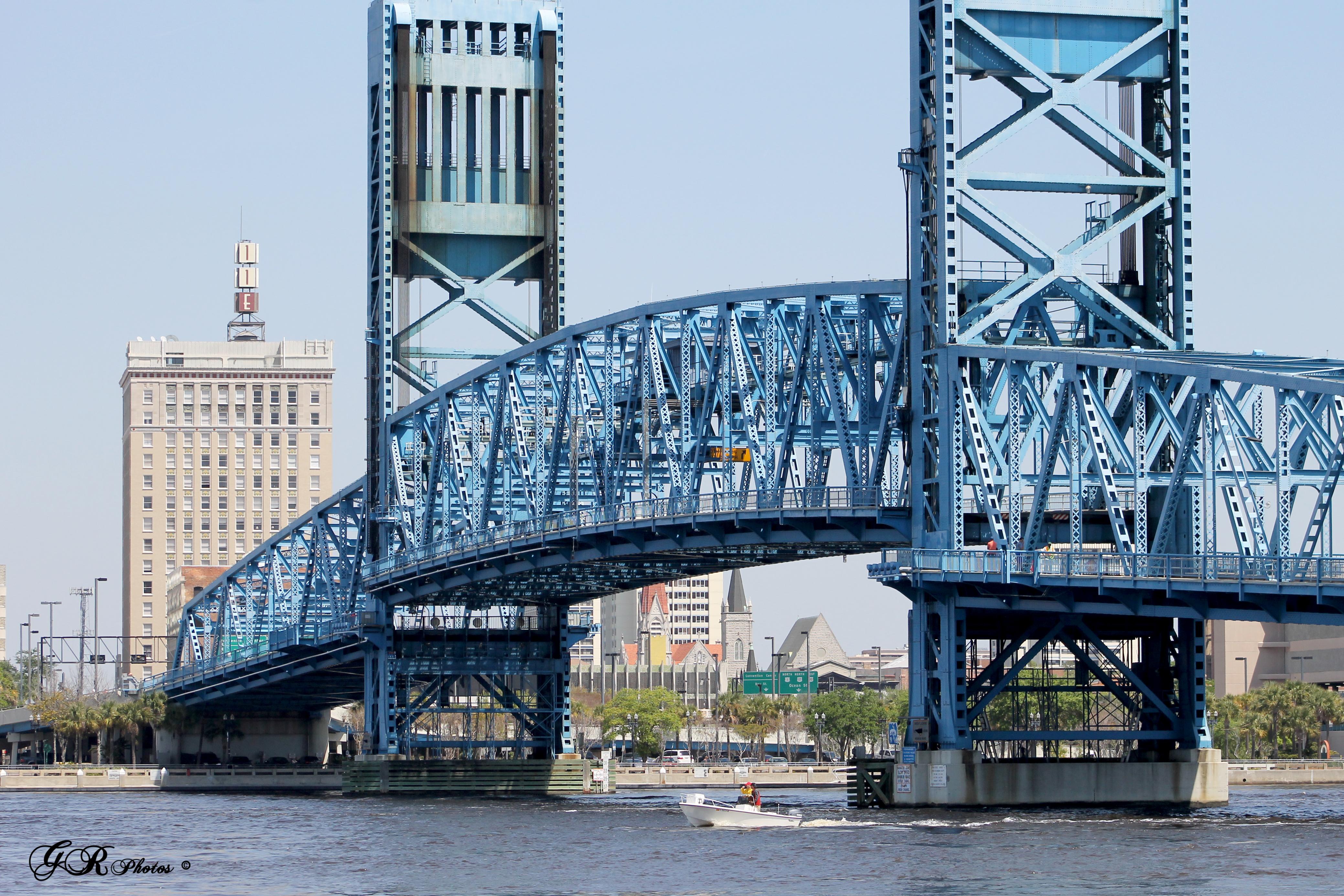 Jacksonville Florida, Blue, Bridge, Bridges, Drawbridge, HQ Photo