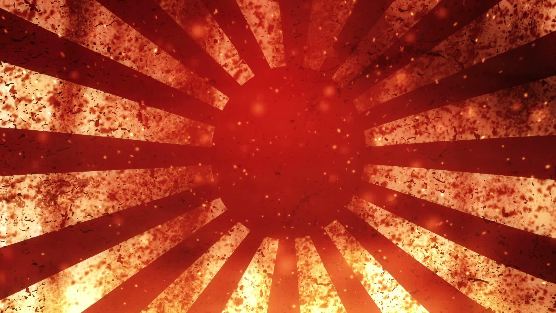 Japanese rising sun grunge flag on FIRE center ~ Hi Res #27076066