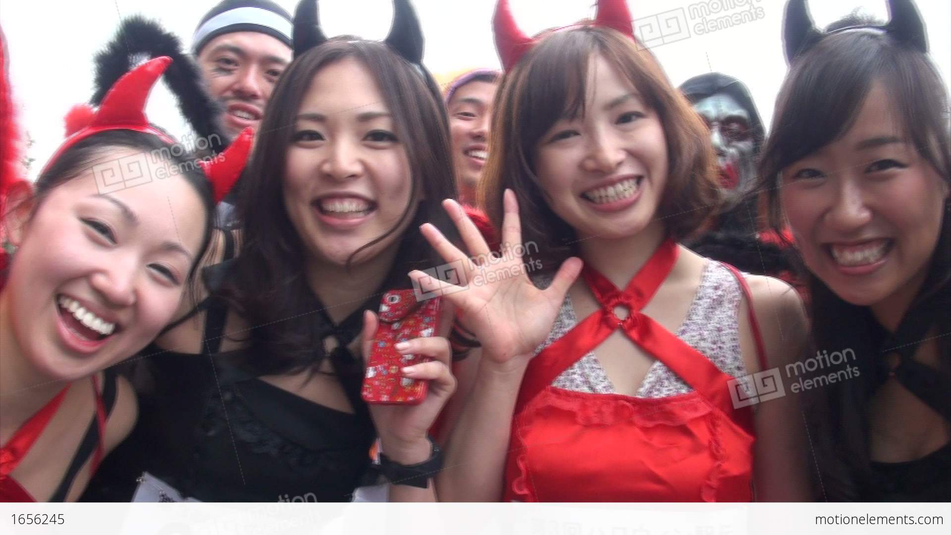 Sexy Japanese Girls Dressed In Halloween Outfits Stock video footage ...
