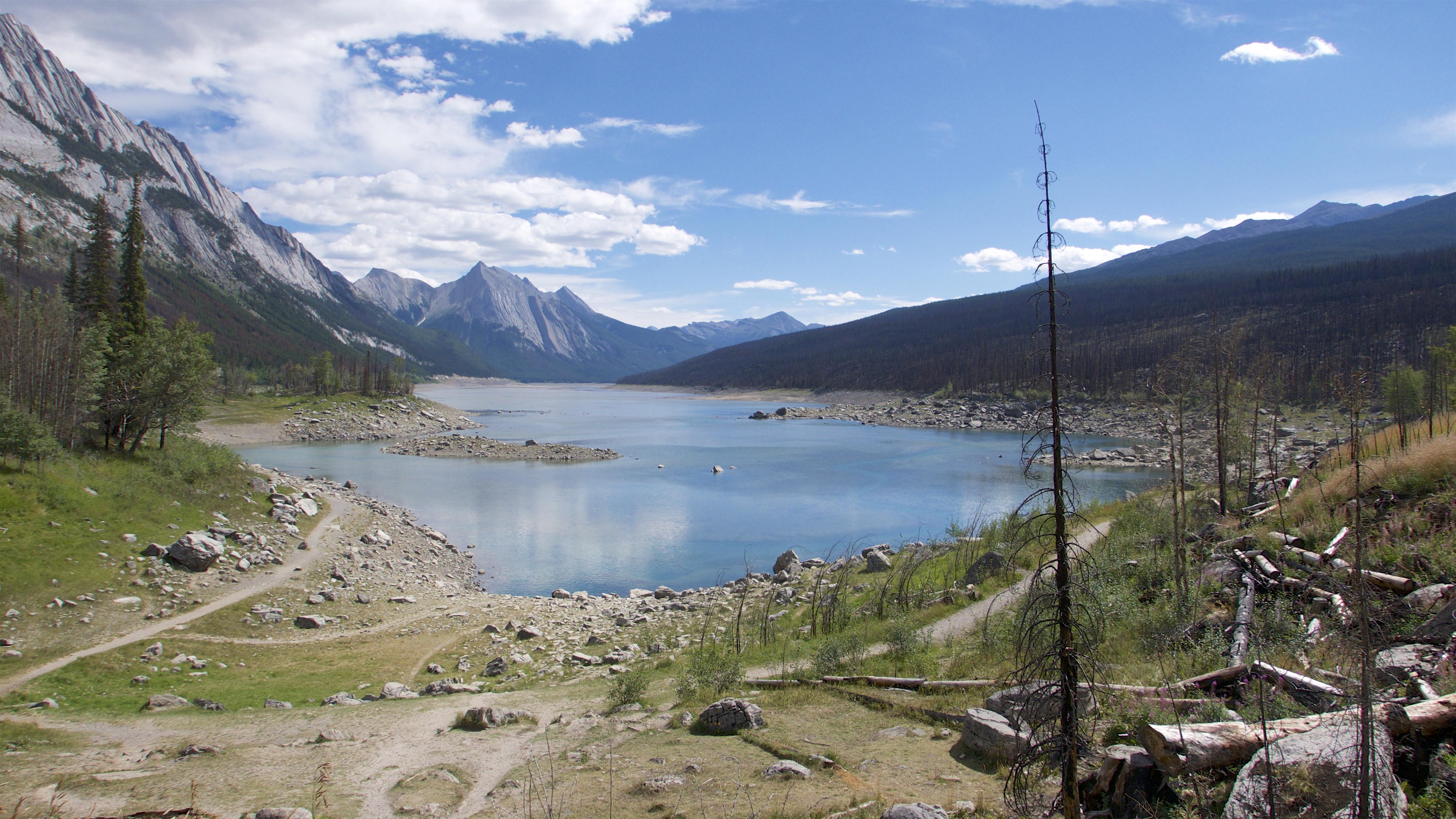 Jasper Maligne Canyon, Alberta, Canada, Grass, Lac, HQ Photo