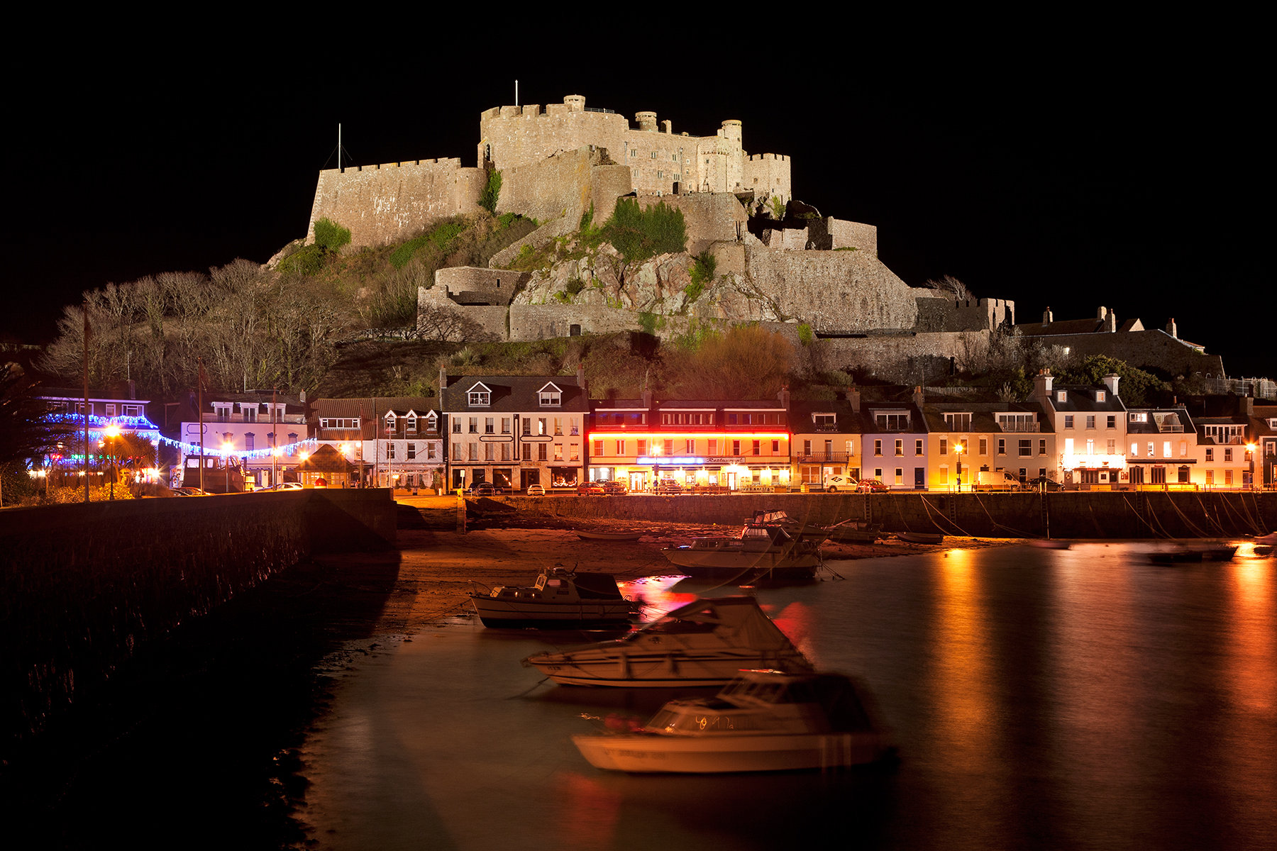 Jersey Night Castle - Mont Orgueil, Ages, Night, Reflection, Reflected, HQ Photo
