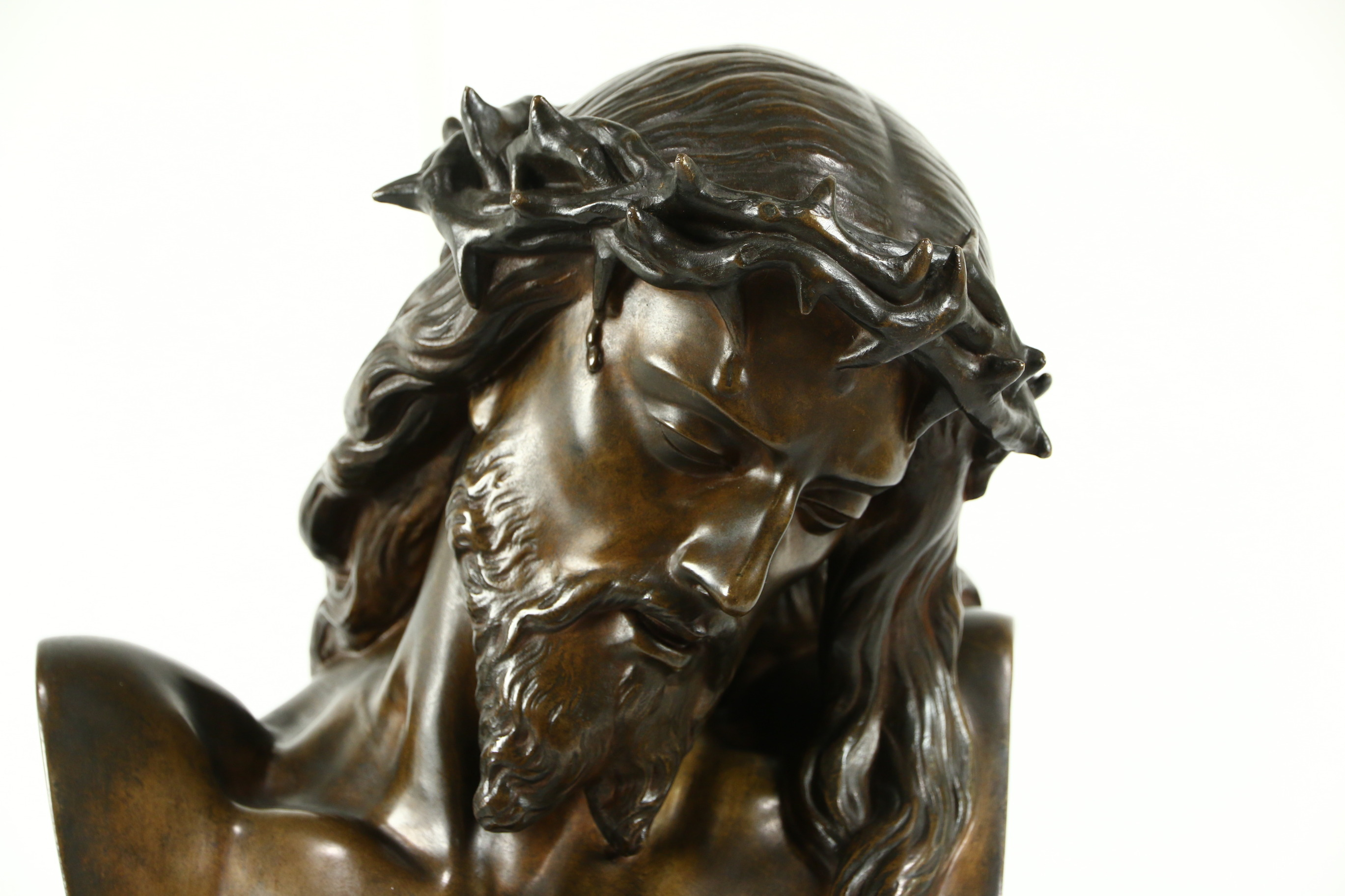 SOLD - Jesus with a Crown of Thorns Mid 1800's French Bronze ...