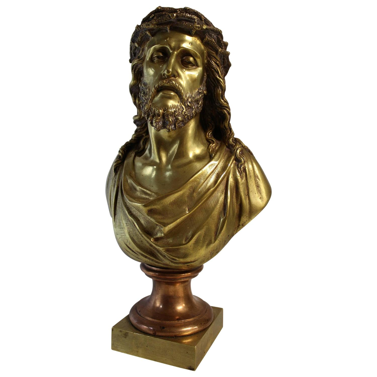 Jean Bulio Patinated Gilt Bronze Sculpture of Jesus Christ at 1stdibs
