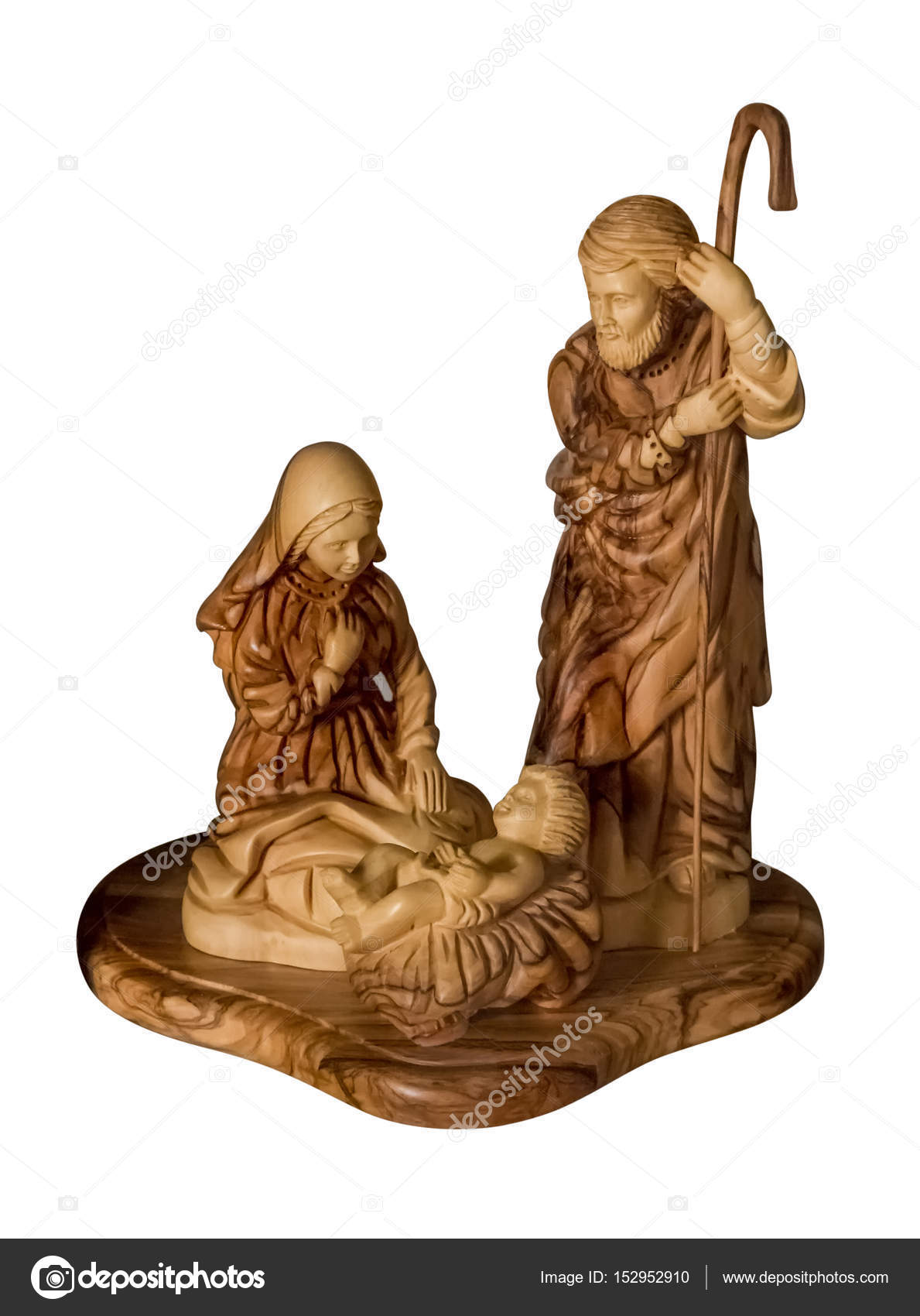 Wooden sculpture of the baby Jesus, Virgin Mary and Joseph — Stock ...