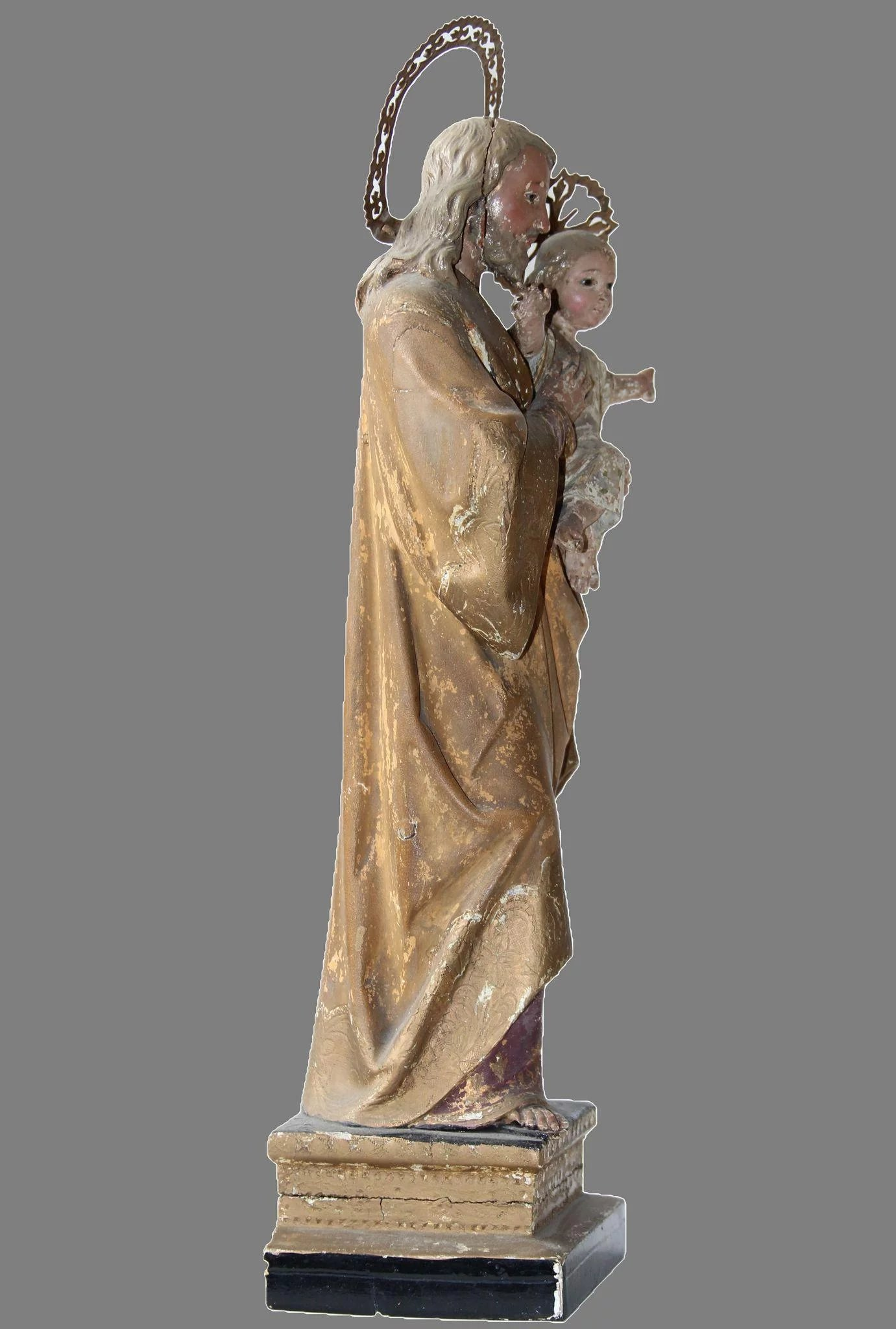 Baroque Sculpture of St. Joseph with Jesus Child - Wood Carved ...