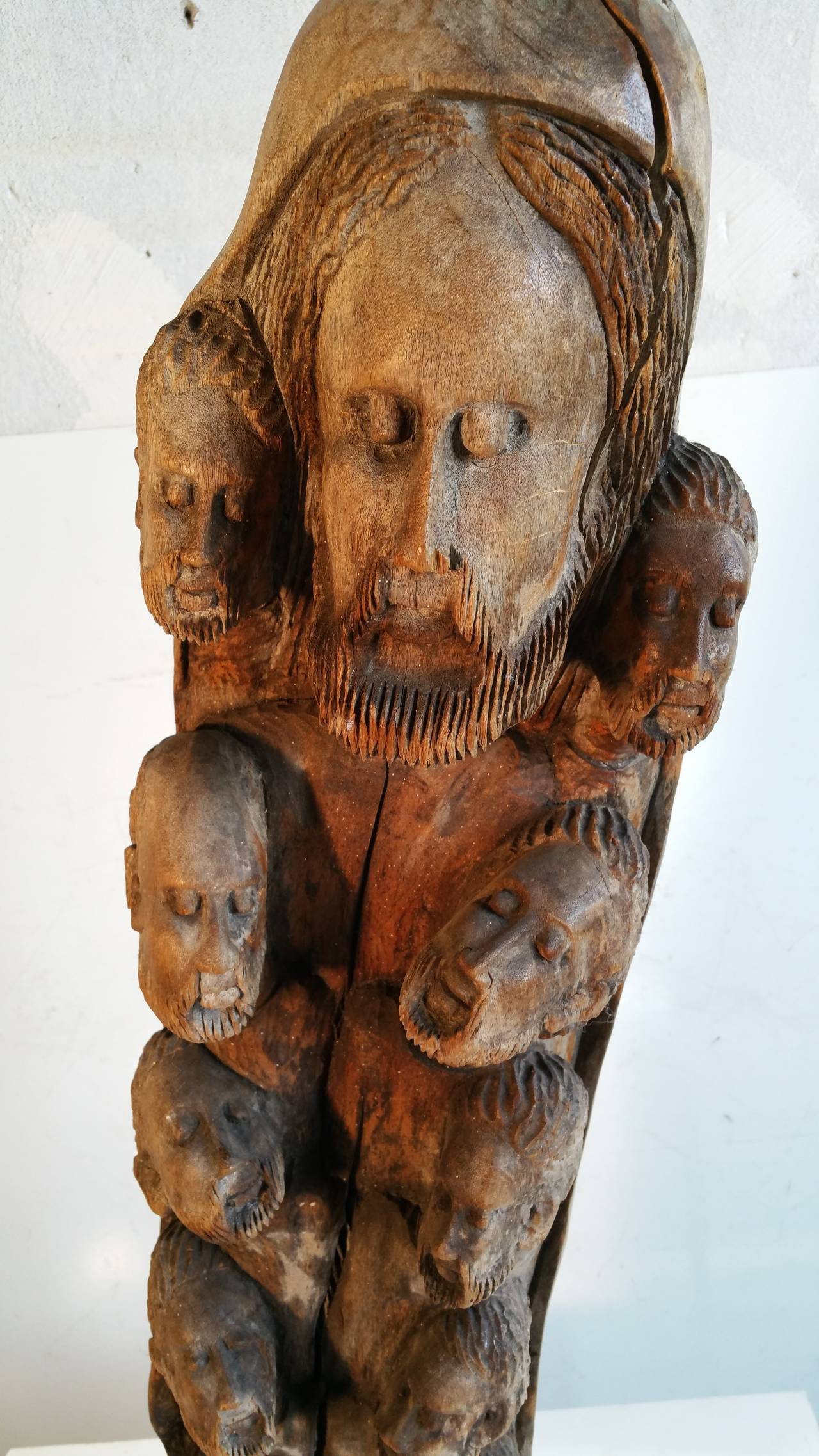 Large Unusual Religious Carved Wood Sculpture of Jesus and Twelve ...