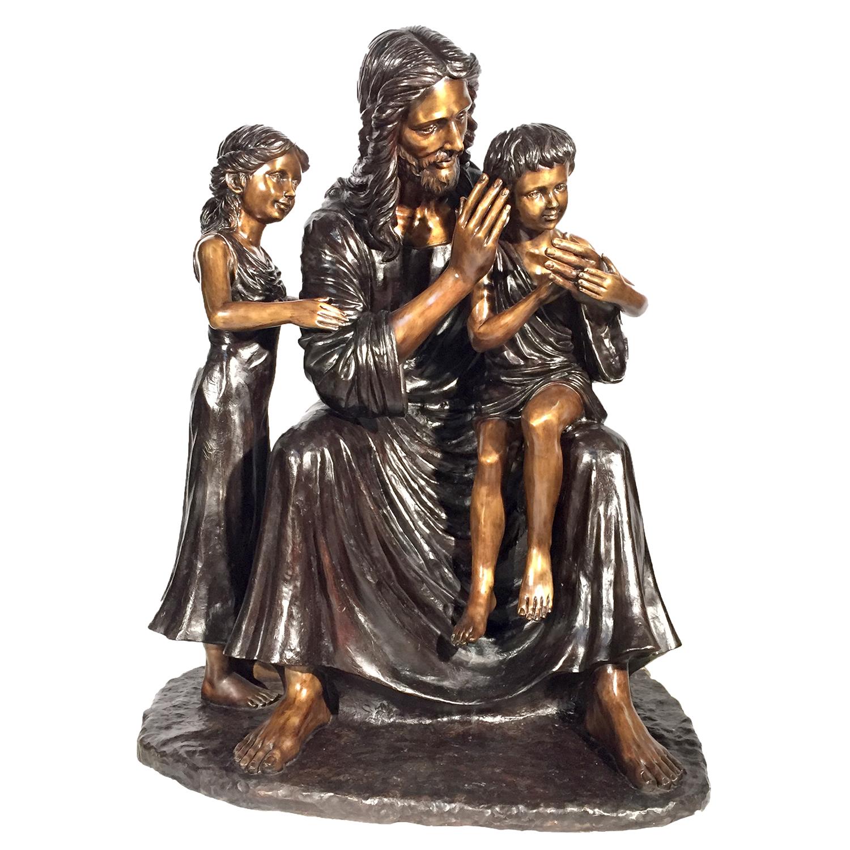 Bronze Jesus with Children Sculpture | Metropolitan Galleries Inc.