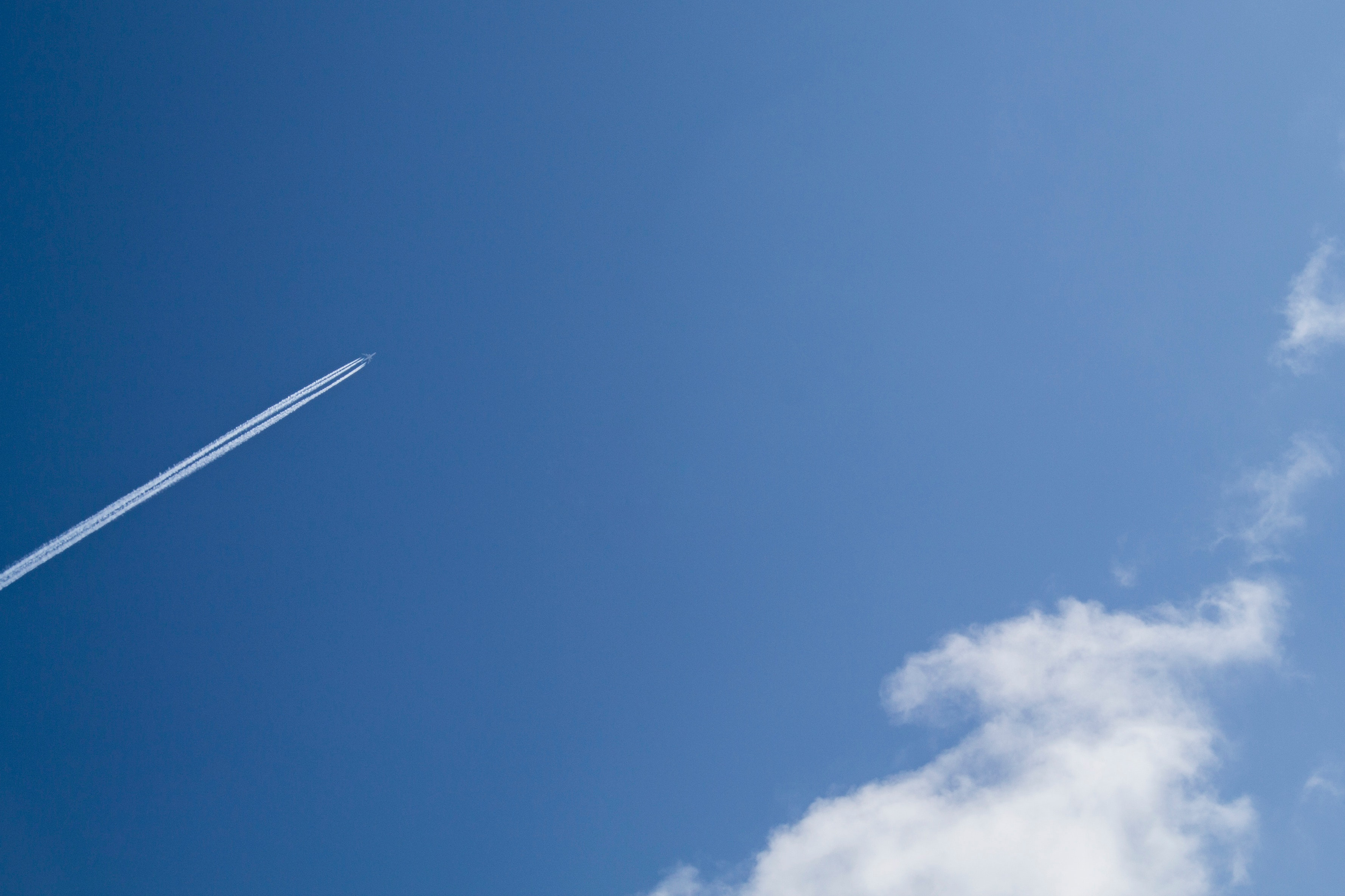 Jet under clear blue sky during daytime photo