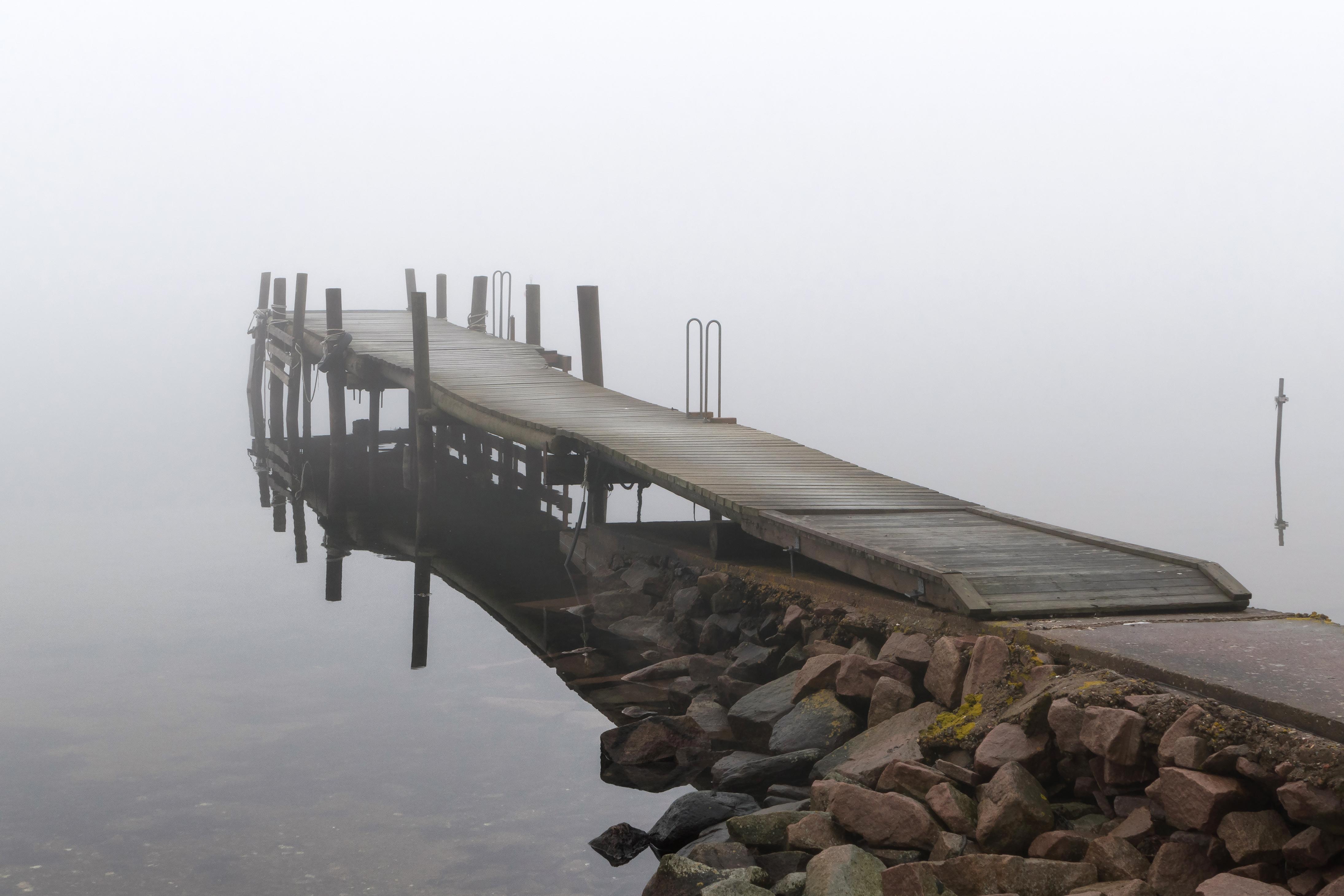 Jetty in fog at Holländaröd 3, Architecture, Bridge, Brofjorden, Fog, HQ Photo