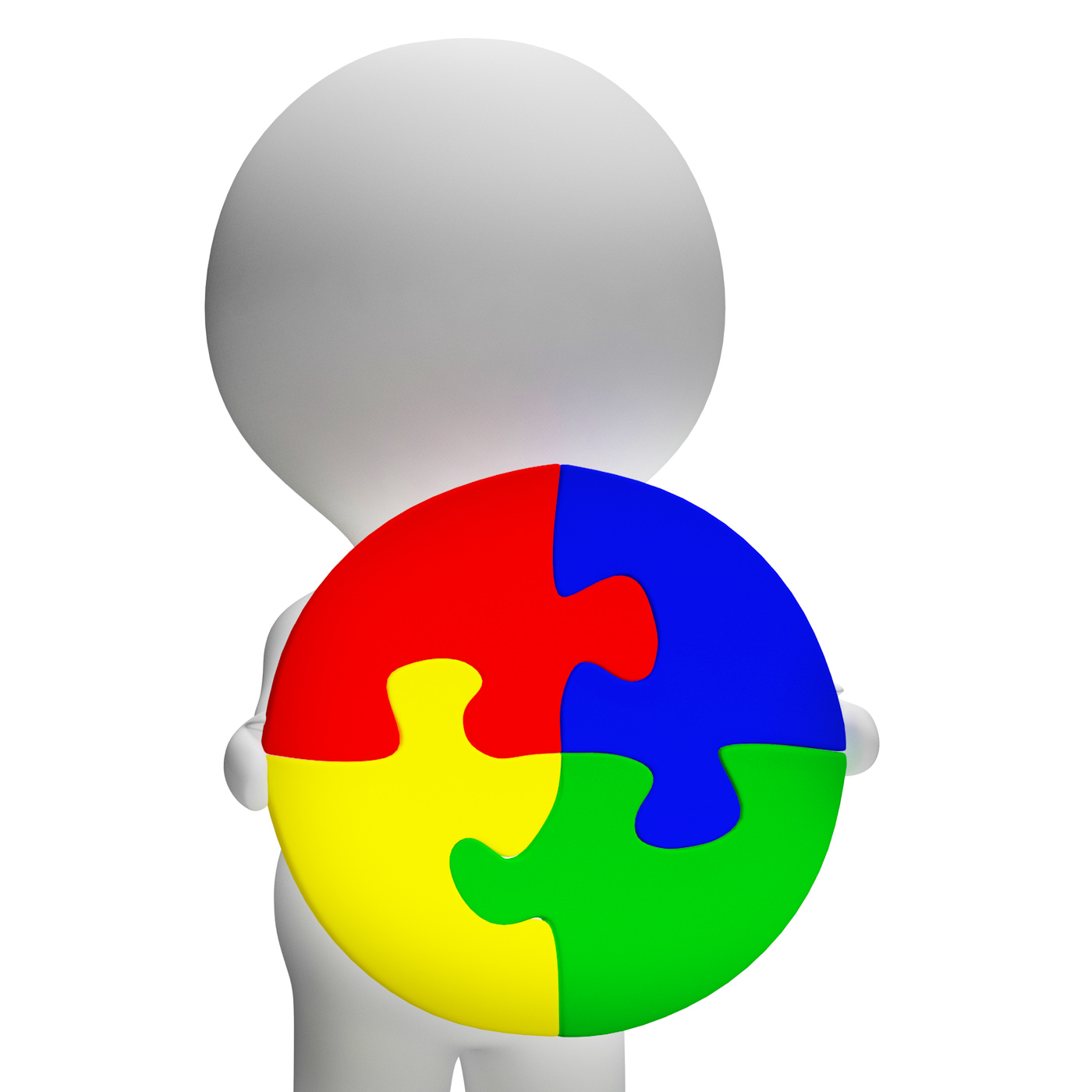 Jigsaw Solution And 3d Character Showing Solution Or Wholeness, 3d, Whole, Success, Succeed, HQ Photo