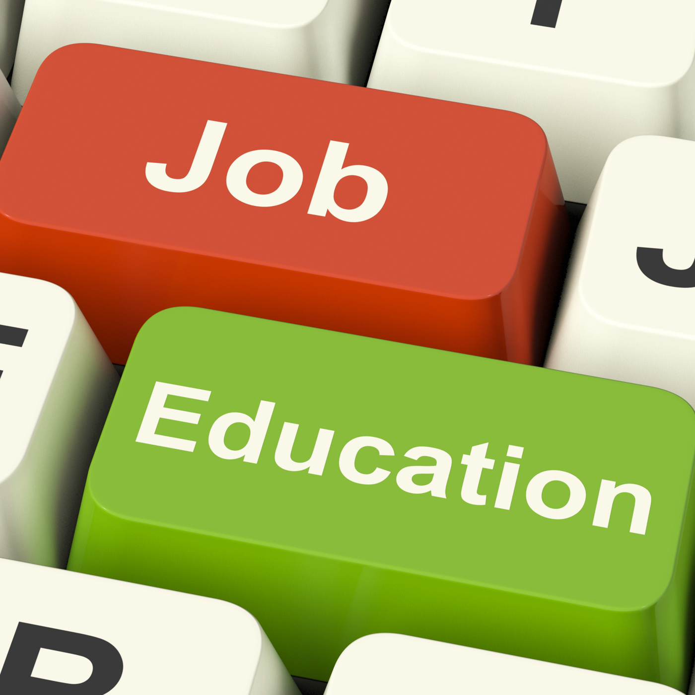 Job And Education Computer Keys Showing Choice Of Working Or Studying, Advice, Unemployed, School, Student, HQ Photo