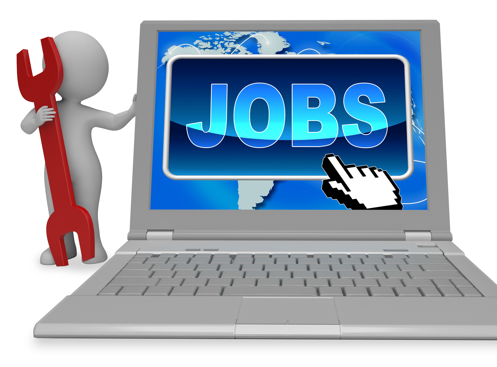 Jobs button represents world wide web and work 3d rendering photo