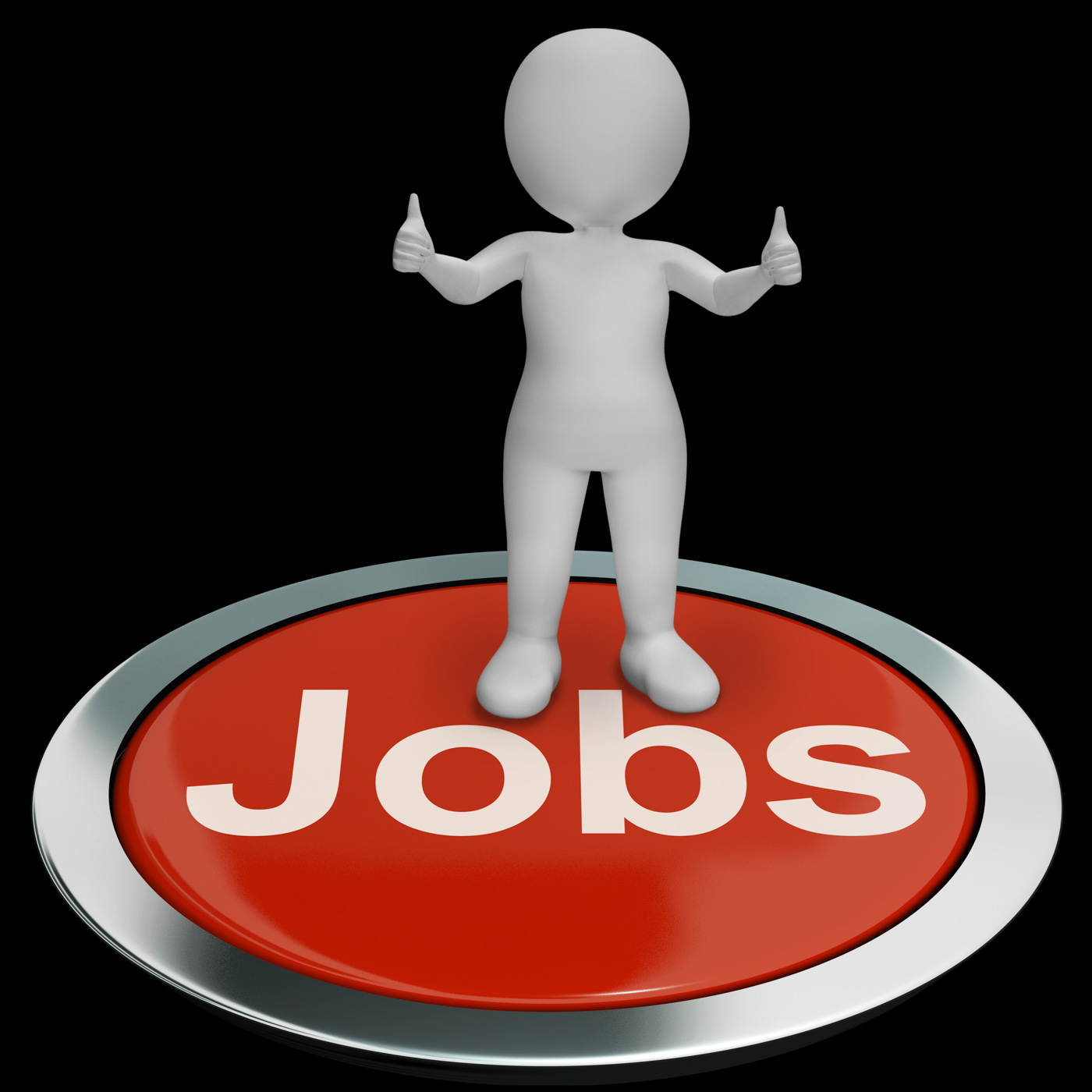 Jobs Computer Button Shows Work And Career, Button, Occupations, Work, Vocational, HQ Photo