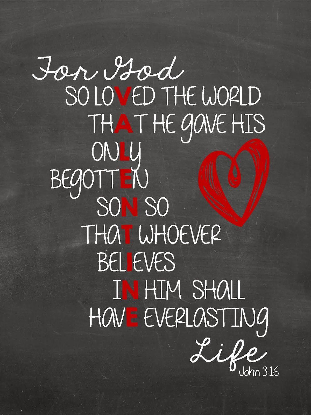John 3:16 Valentines (Sweet Blessings) | Blessings, Valentines ...