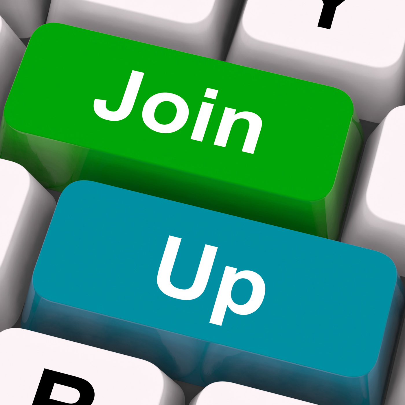 Join up keys show becoming a member or registering photo