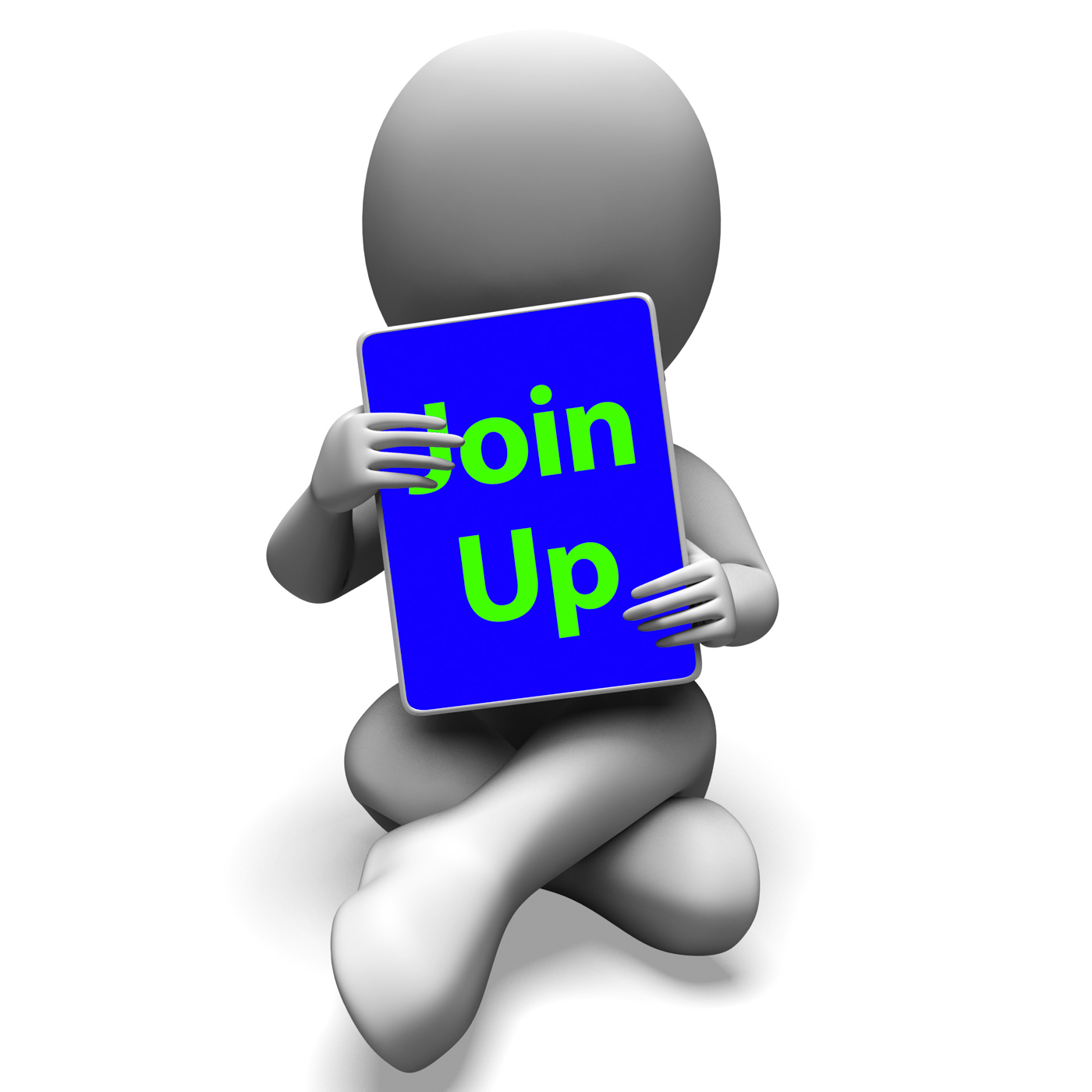 Join up tablet character shows subscription membership and registratio photo