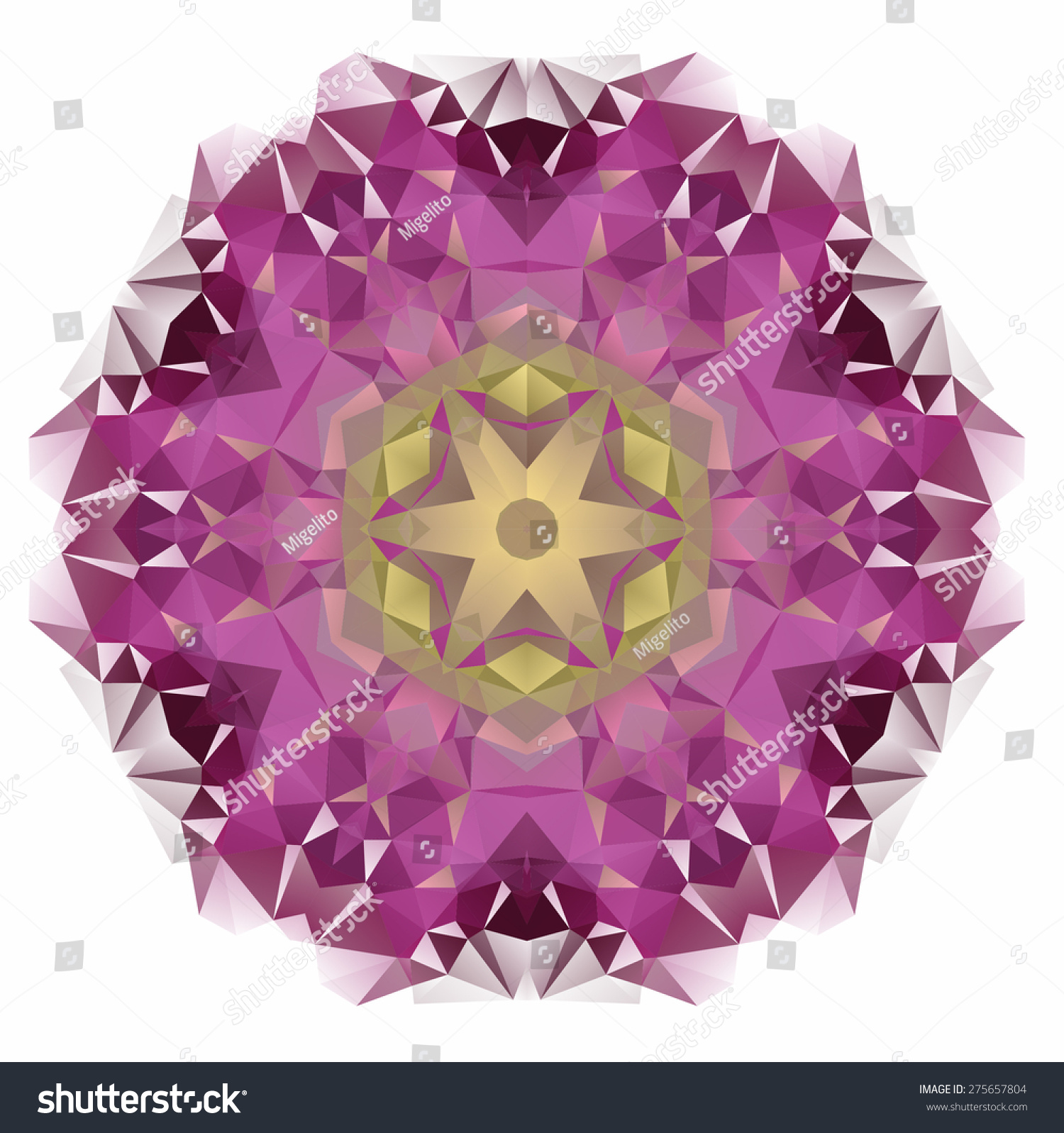 Vector Triangle Pattern Background Kaleidoscope Flower Stock Vector ...